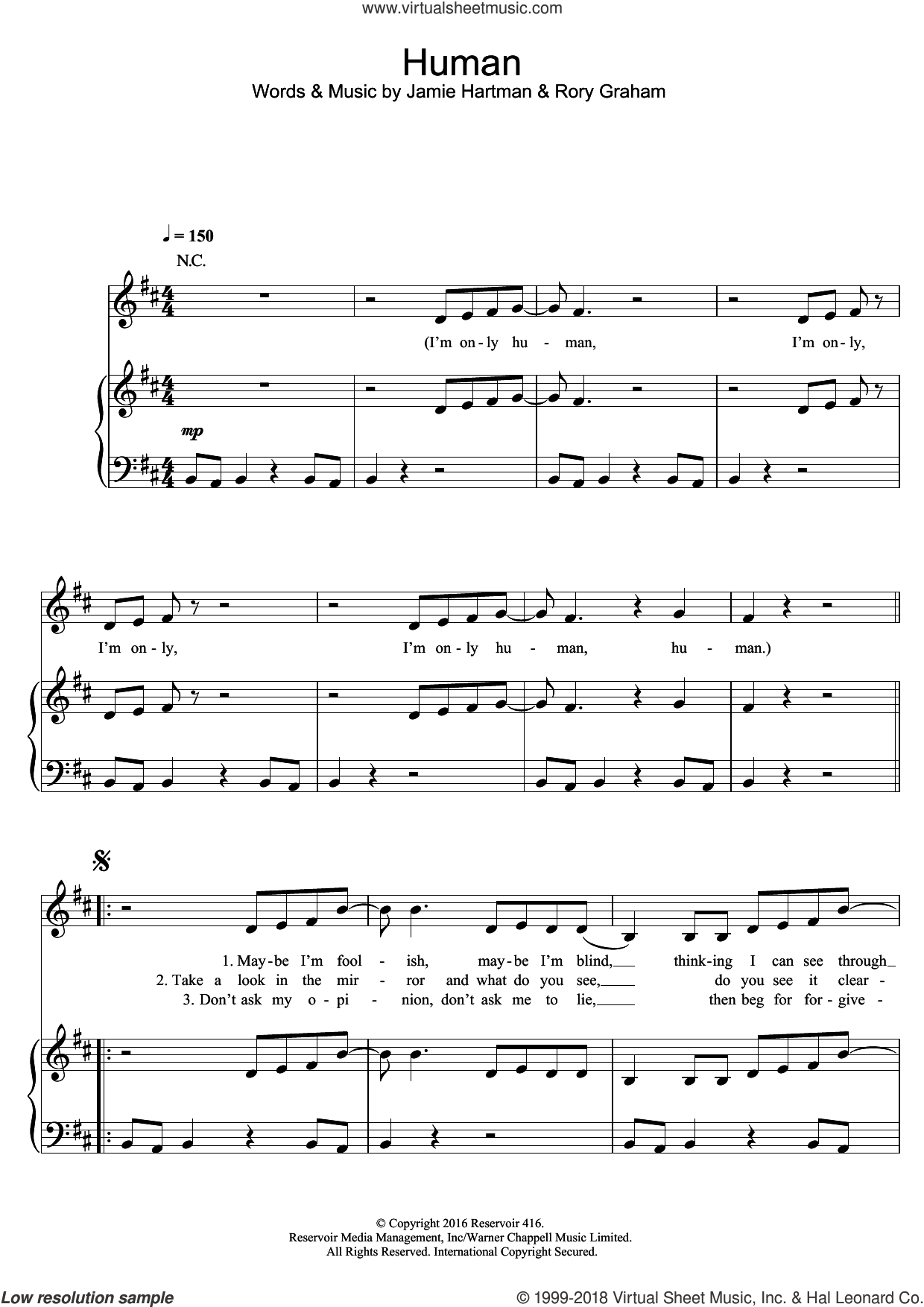 Human sheet music for voice, piano or guitar by Rag'n'Bone Man, intermediate skill level