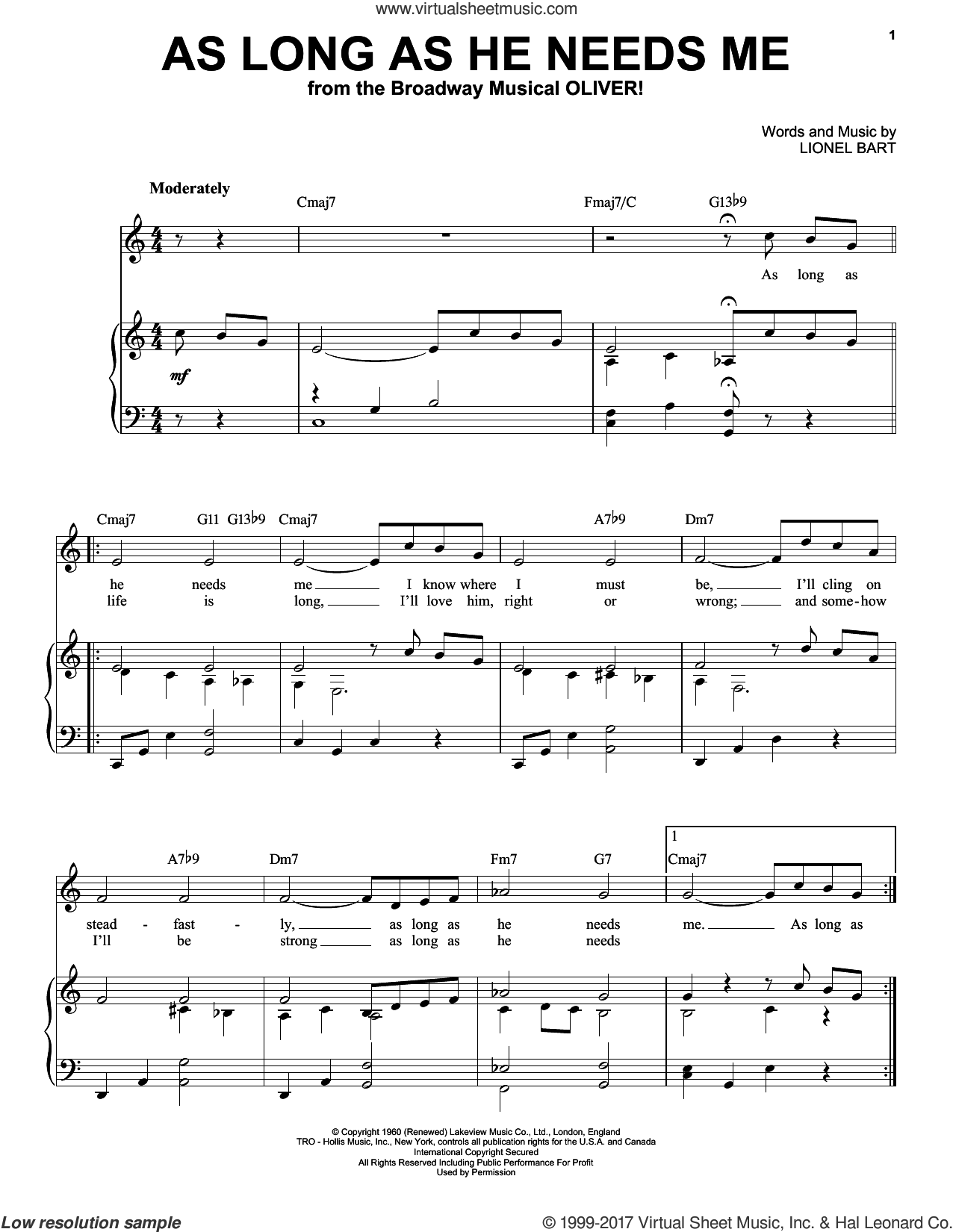 As Long As He Needs Me sheet music for voice and piano (High Voice) by Lionel Bart, intermediate skill level
