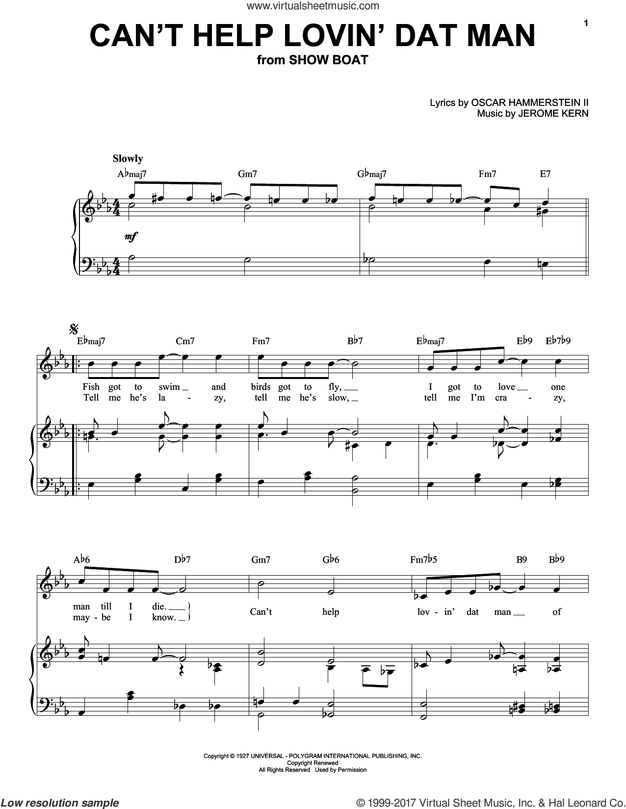 Can't Help Lovin' Dat Man sheet music for voice and piano (High ) by Jerome Kern and Helen Morgan, intermediate. Score Image Preview.