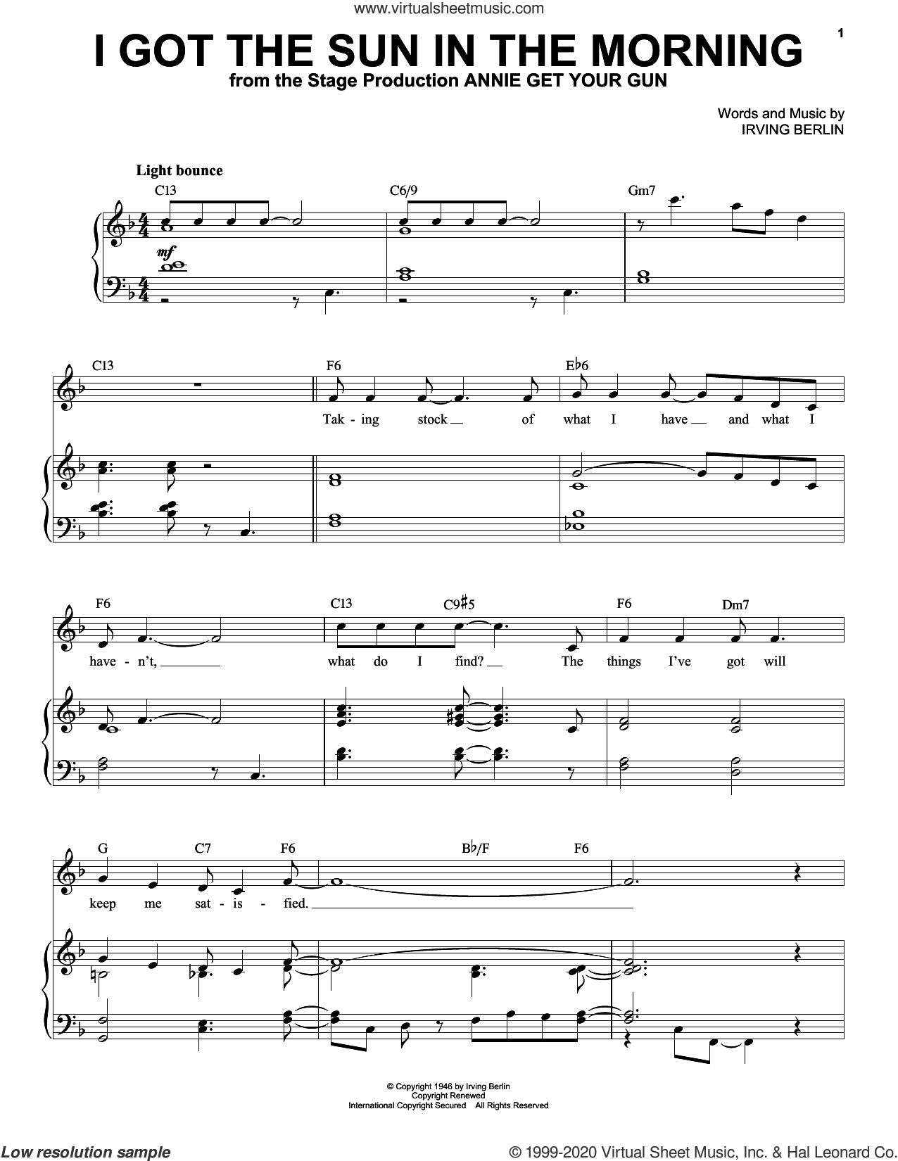 I Got The Sun In The Morning sheet music for voice and piano (High Voice) by Irving Berlin, intermediate skill level