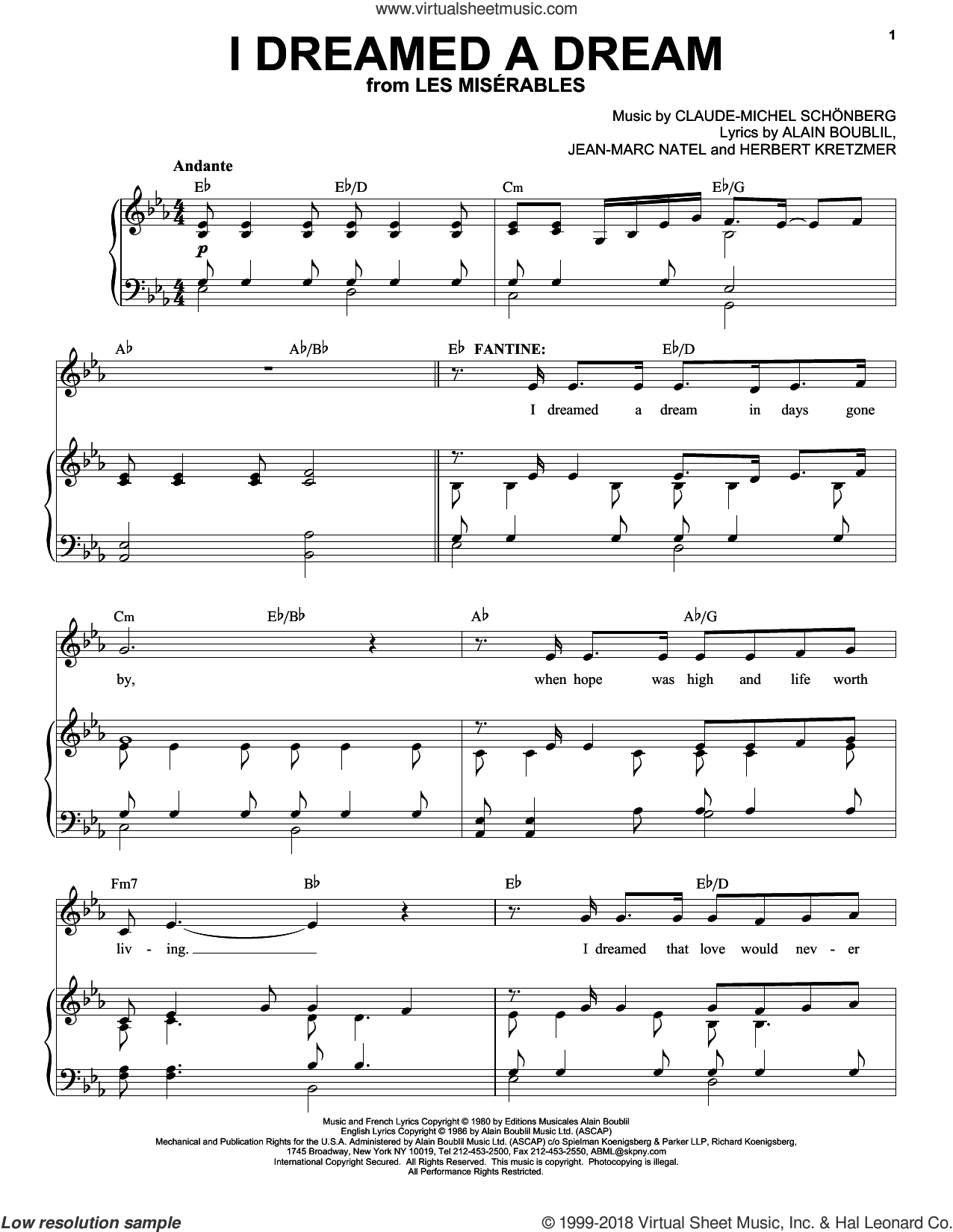 I Dreamed A Dream sheet music for voice and piano (High ) by Alain Boublil, Susan Boyle, Claude-Michel Schonberg, Herbert Kretzmer and Jean-Marc Natel, intermediate. Score Image Preview.