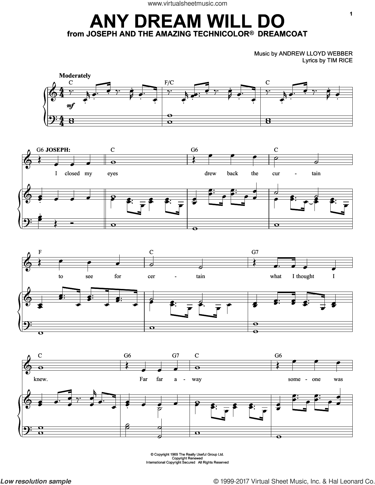Any Dream Will Do sheet music for voice and piano (High ) by Andrew Lloyd Webber and Tim Rice, intermediate. Score Image Preview.