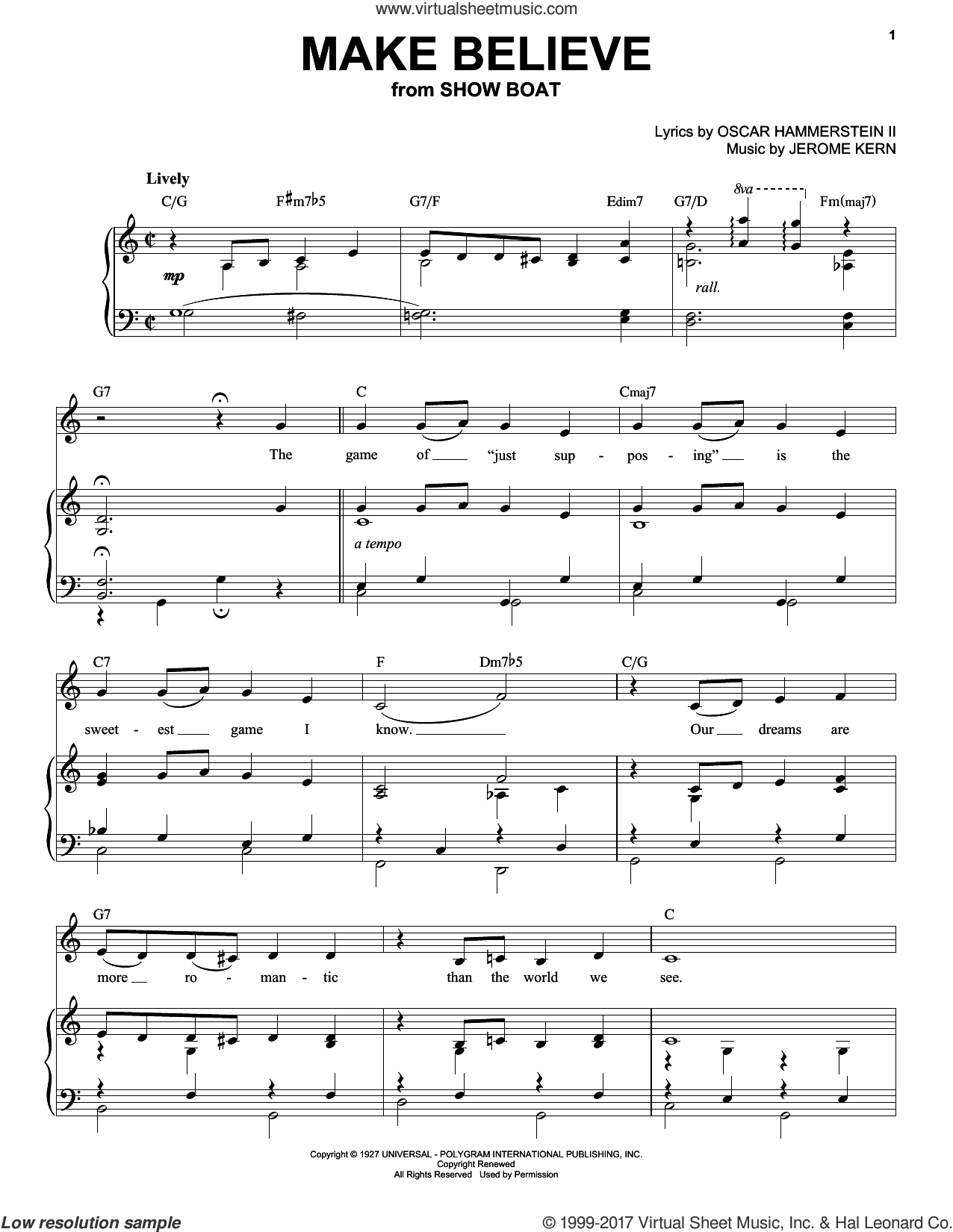 Make Believe sheet music for voice and piano (High Voice) by Oscar II Hammerstein and Jerome Kern, intermediate