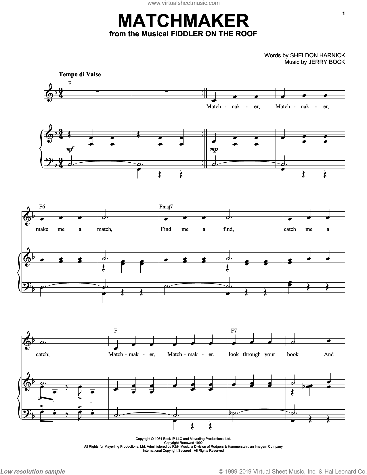 Matchmaker (from Fiddler On The Roof) sheet music for voice and piano (High Voice) by Bock & Harnick, Jerry Bock and Sheldon Harnick, intermediate skill level