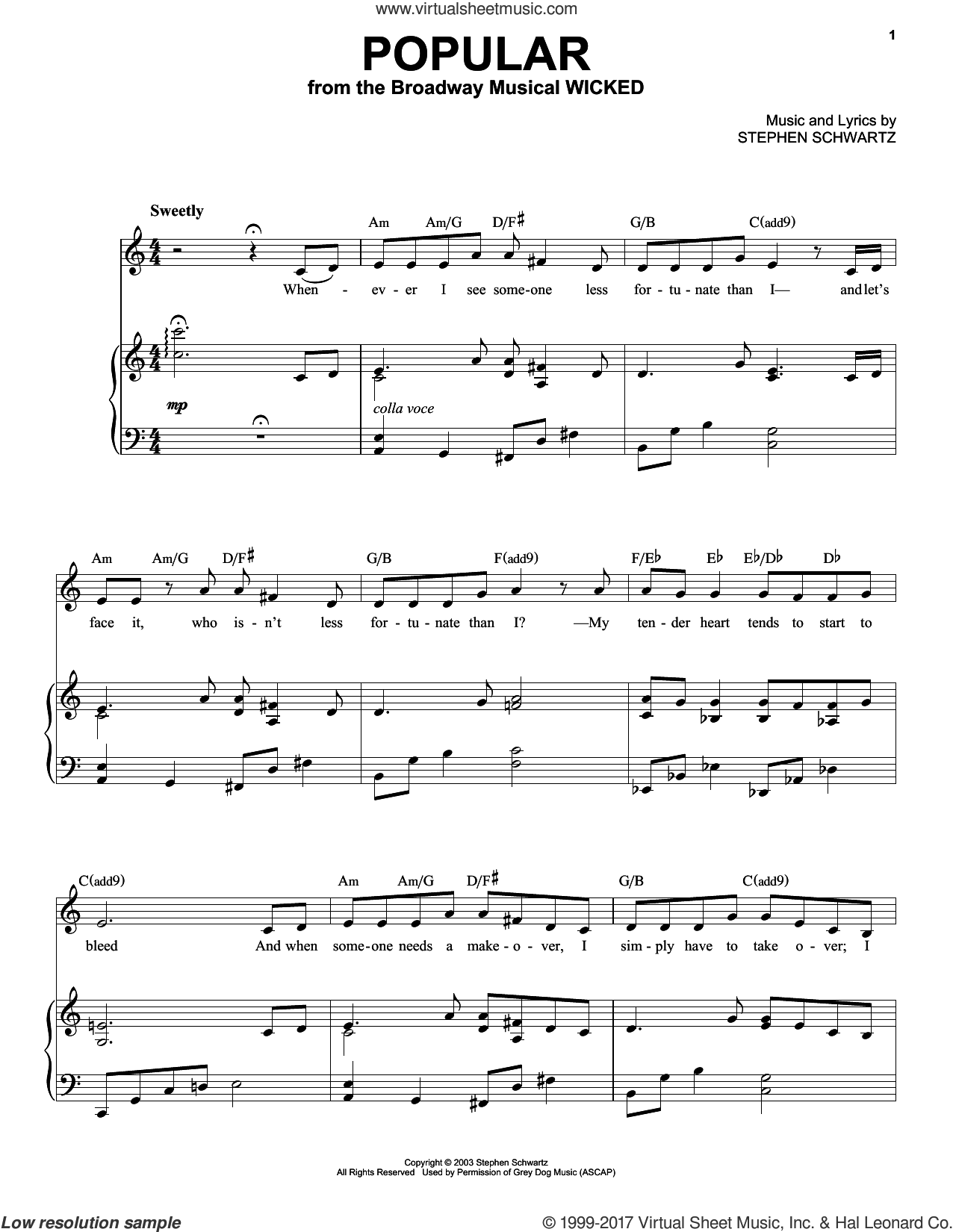 Popular sheet music for voice and piano (High Voice) by Stephen Schwartz, intermediate skill level