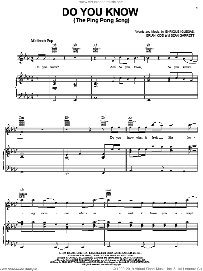 Do You Know? (The Ping Pong Song) sheet music for voice, piano or guitar by Sean Garrett