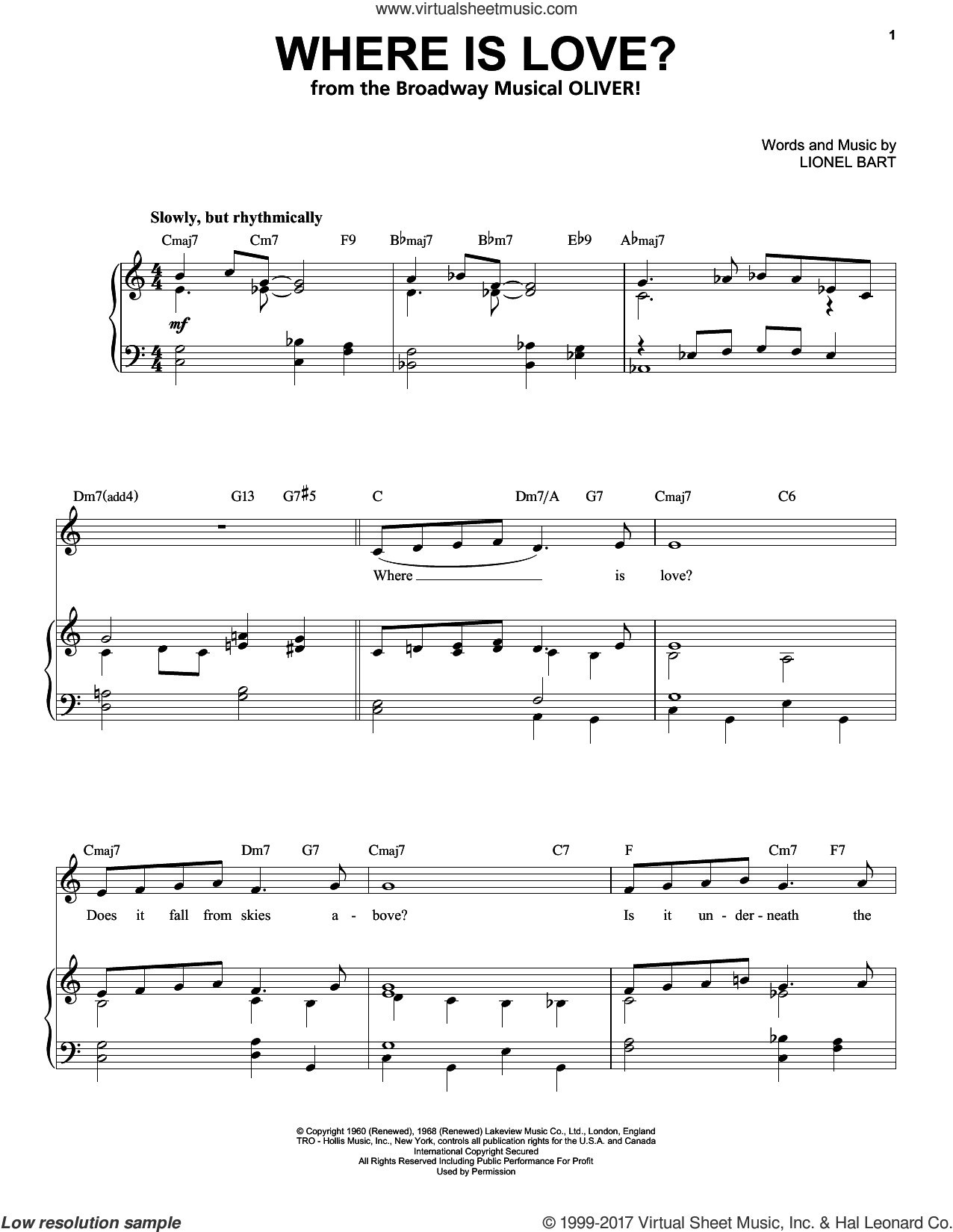 Where Is Love? sheet music for voice and piano (High Voice) by Lionel Bart, intermediate skill level