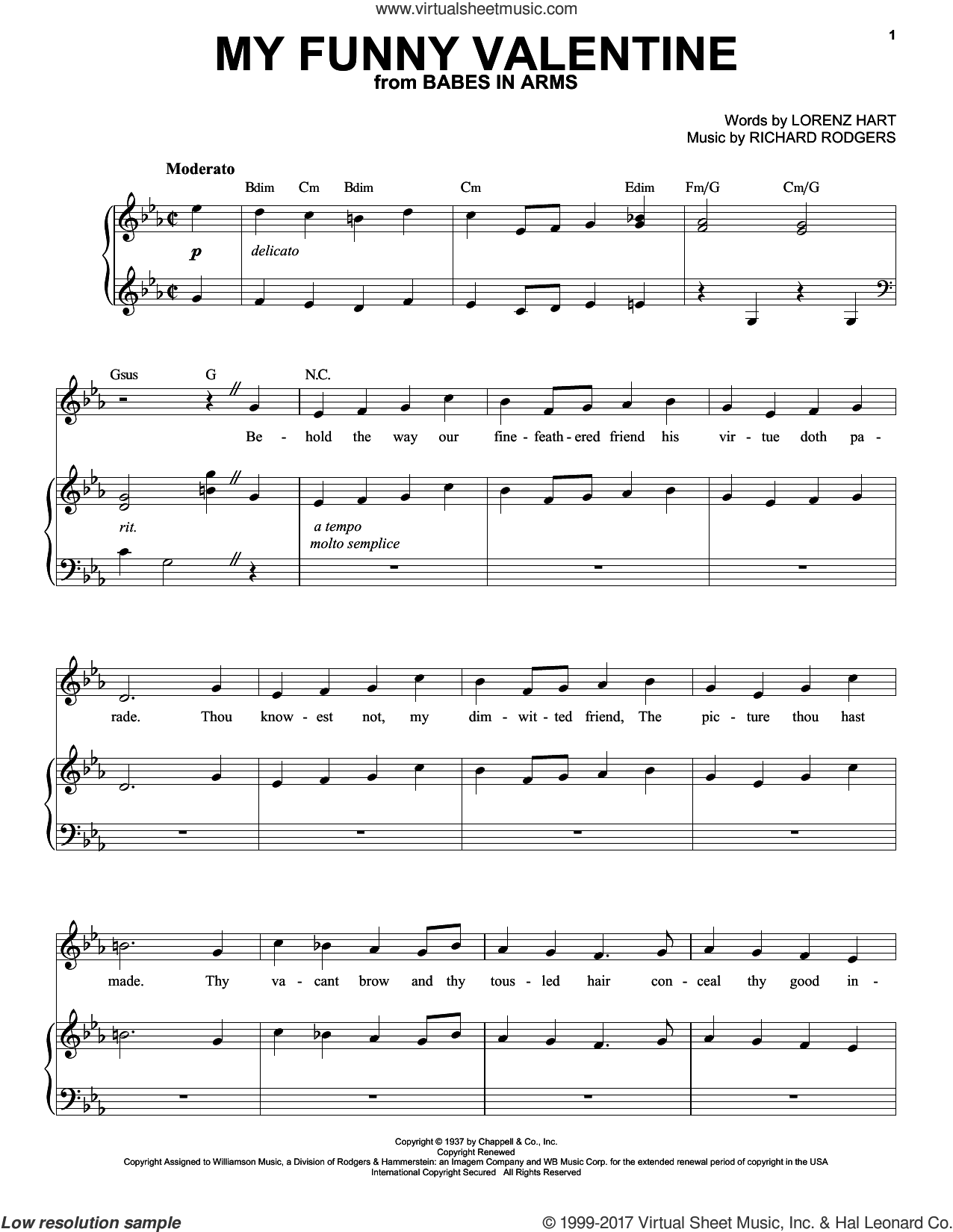 My Funny Valentine sheet music for voice and piano (High Voice) by Rodgers & Hart, Lorenz Hart and Richard Rodgers, intermediate skill level