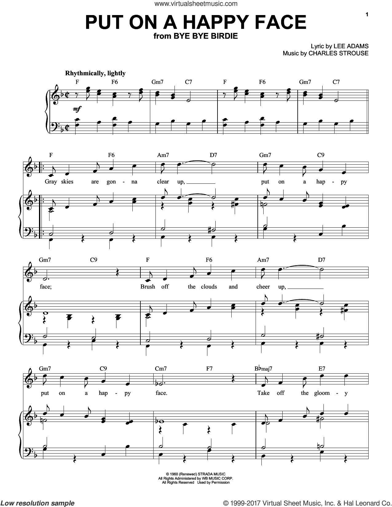 Put On A Happy Face sheet music for voice and piano (High ) by Charles Strouse and Lee Adams. Score Image Preview.