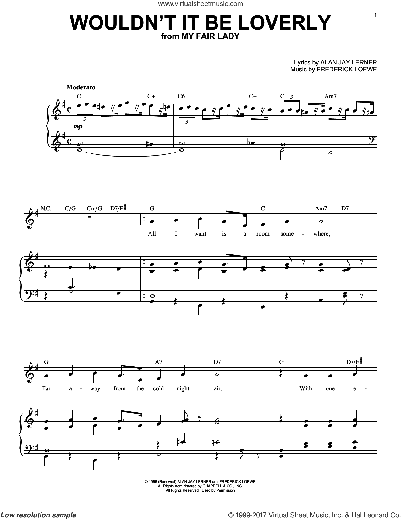 Wouldn't It Be Loverly sheet music for voice and piano (High ) by Frederick Loewe and Alan Jay Lerner, intermediate. Score Image Preview.
