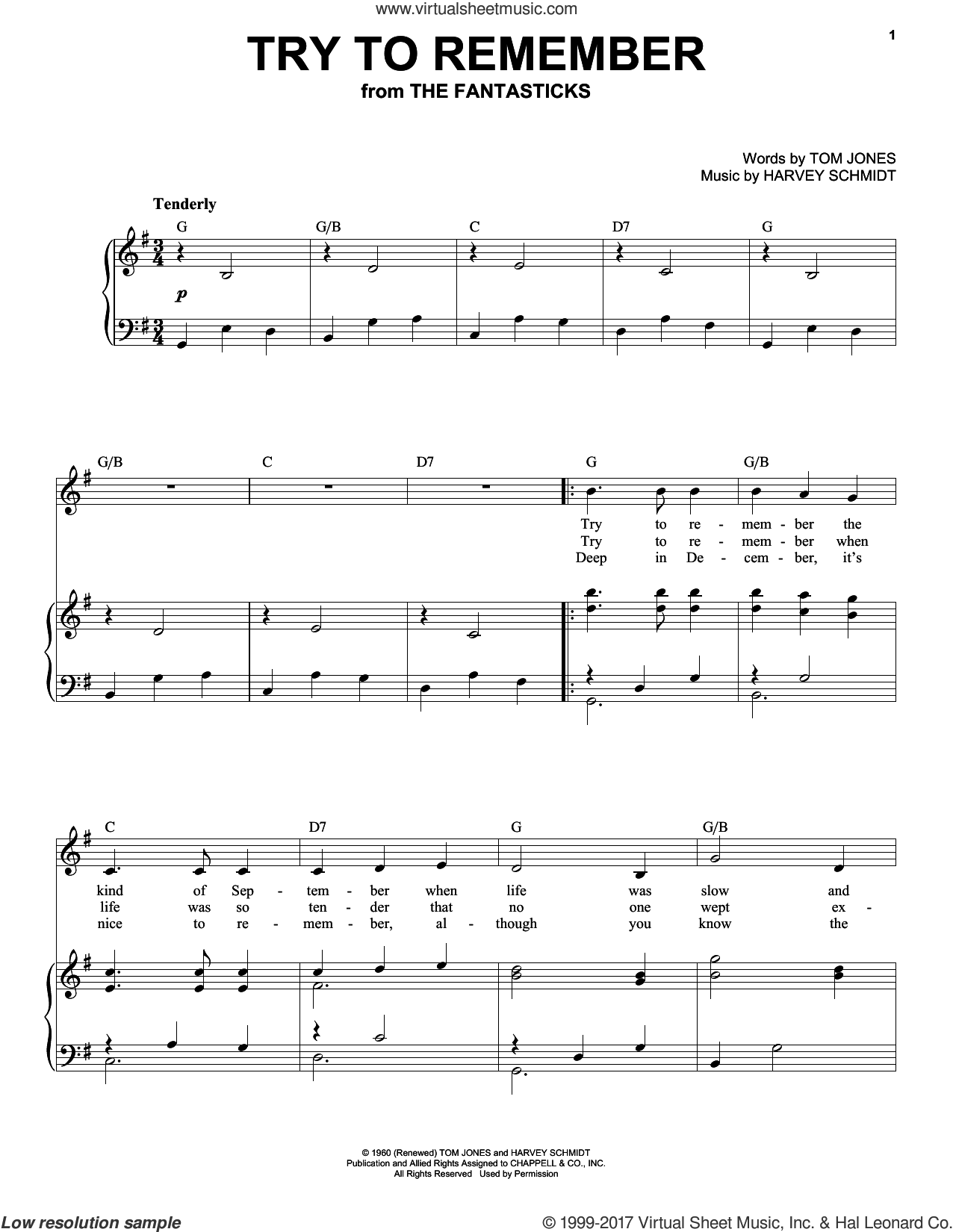 Try To Remember sheet music for voice and piano (High Voice) by Tom Jones and Harvey Schmidt, intermediate skill level