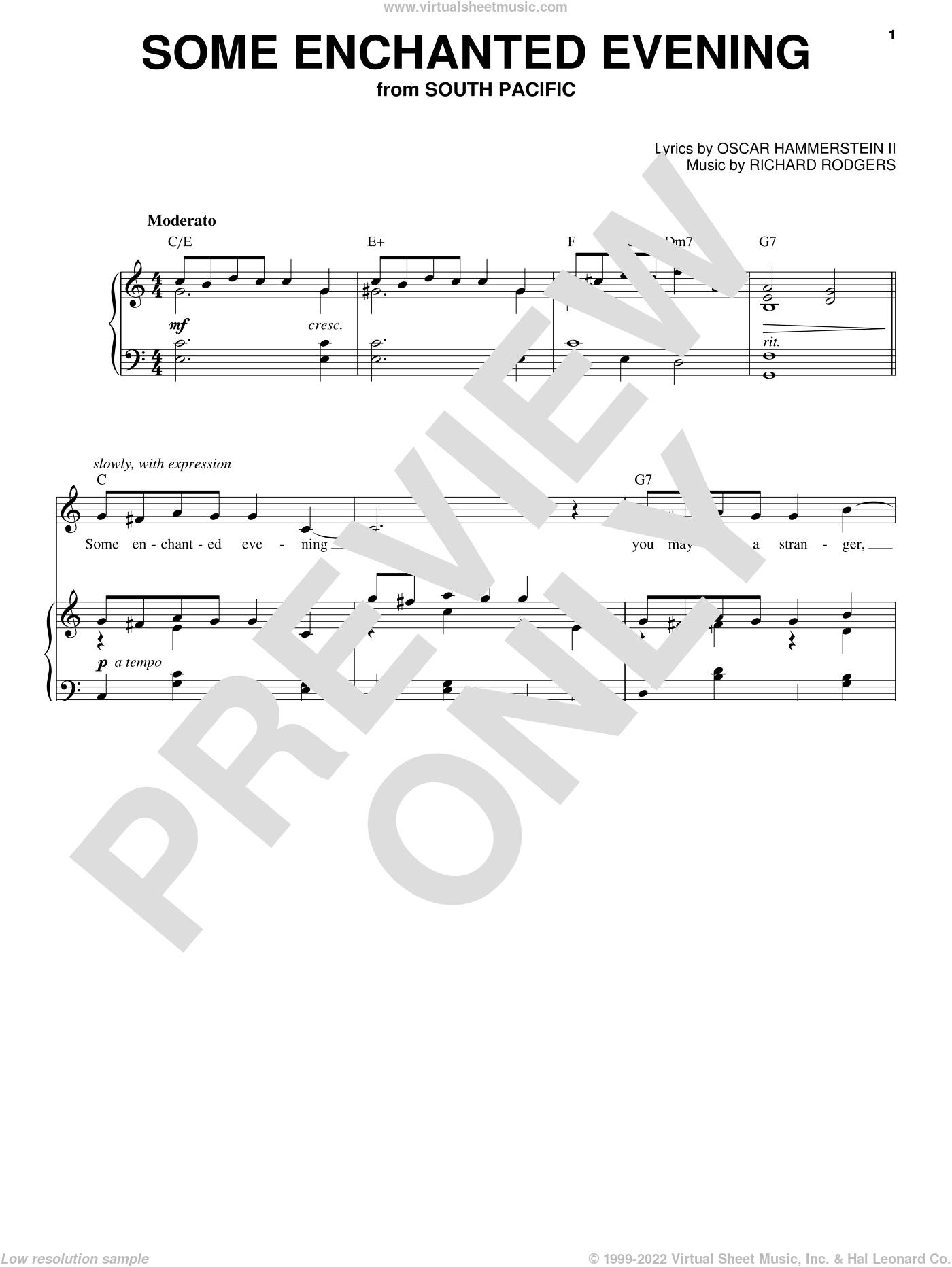 Some Enchanted Evening sheet music for voice and piano (High Voice) by Rodgers & Hammerstein, Oscar II Hammerstein and Richard Rodgers, intermediate skill level