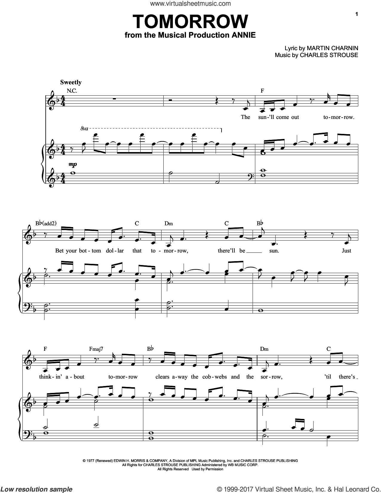Tomorrow sheet music for voice and piano (High Voice) by Martin Charnin and Charles Strouse, intermediate skill level
