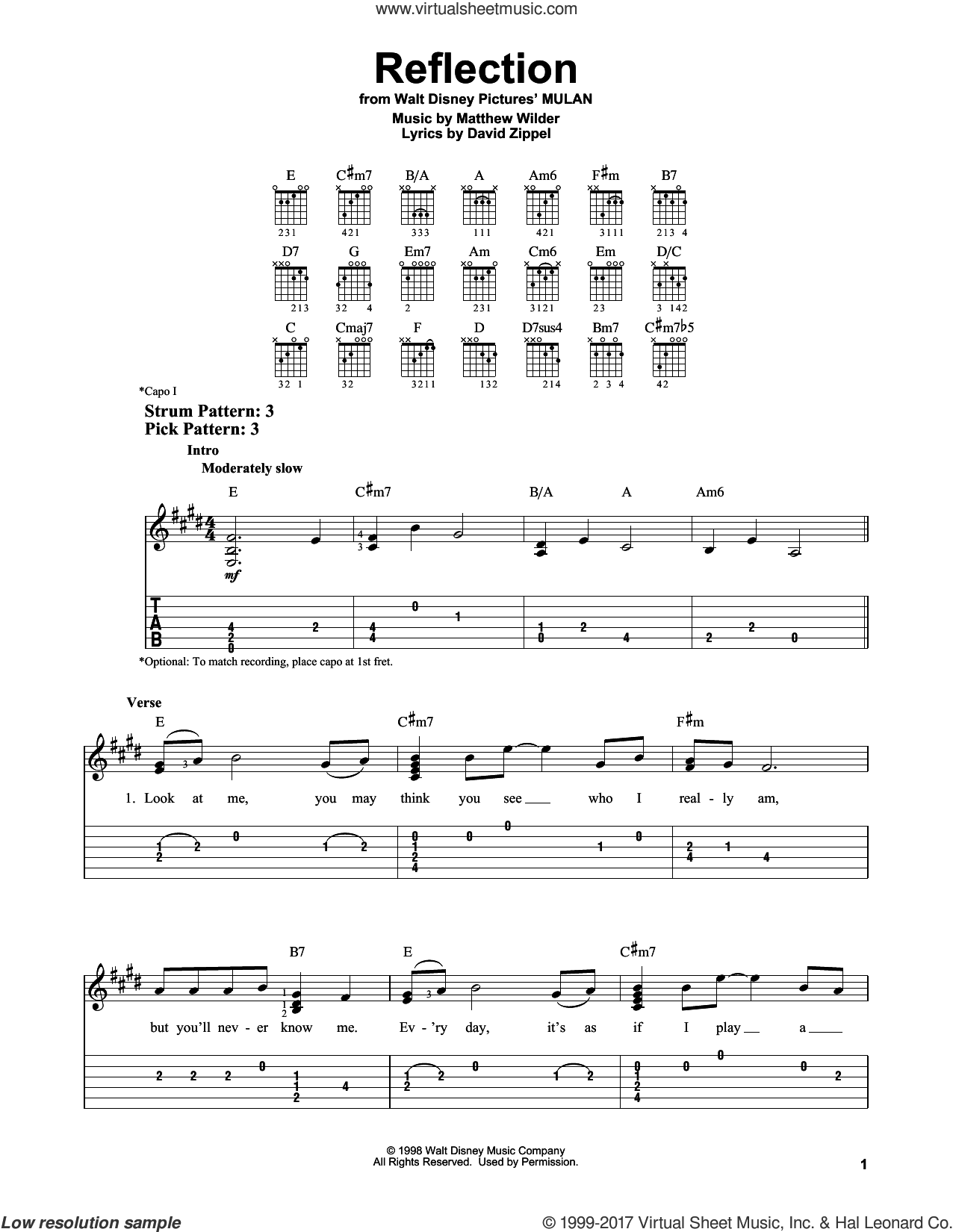 Reflection sheet music for guitar solo (easy tablature) by Christina Aguilera, David Zippel and Matthew Wilder, easy guitar (easy tablature)