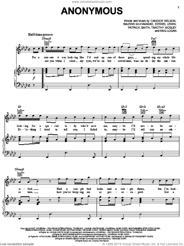 Anonymous sheet music for voice, piano or guitar by Bobby Valentino featuring Timbaland, Bobby Valentino, Timbaland, Balewa Muhammad, Candice Nelson, Ezekiel Lewis, King Logan, Patrick Smith and Tim Mosley, intermediate skill level