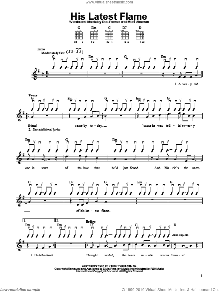 His Latest Flame sheet music for guitar solo (chords) by Elvis Presley, Doc Pomus, Jerome Pomus and Mort Shuman, easy guitar (chords)