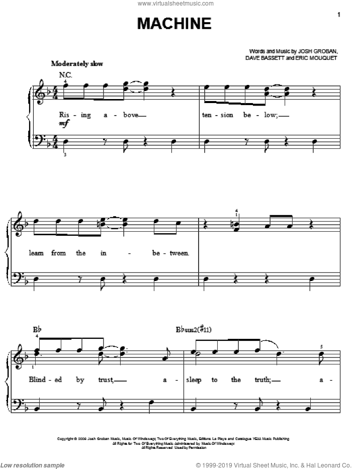 Machine sheet music for piano solo by Josh Groban, Dave Bassett and Eric Mouquet, easy skill level