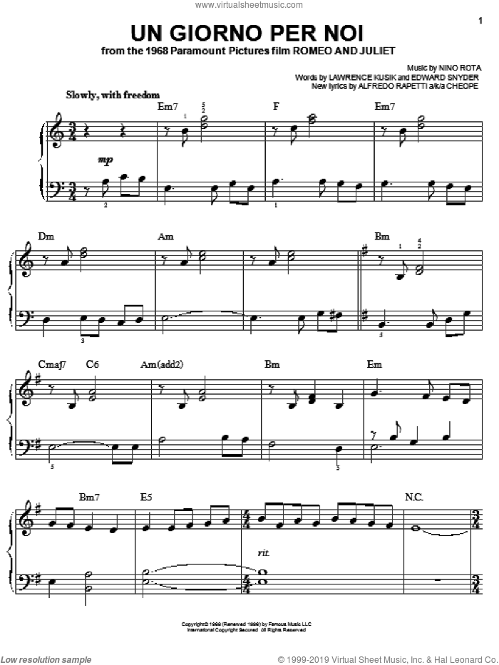 Un Giorno Per Noi sheet music for piano solo by Josh Groban, Alfredo Rapetti, Edward Snyder, Lawrence Kusik and Nino Rota, easy skill level