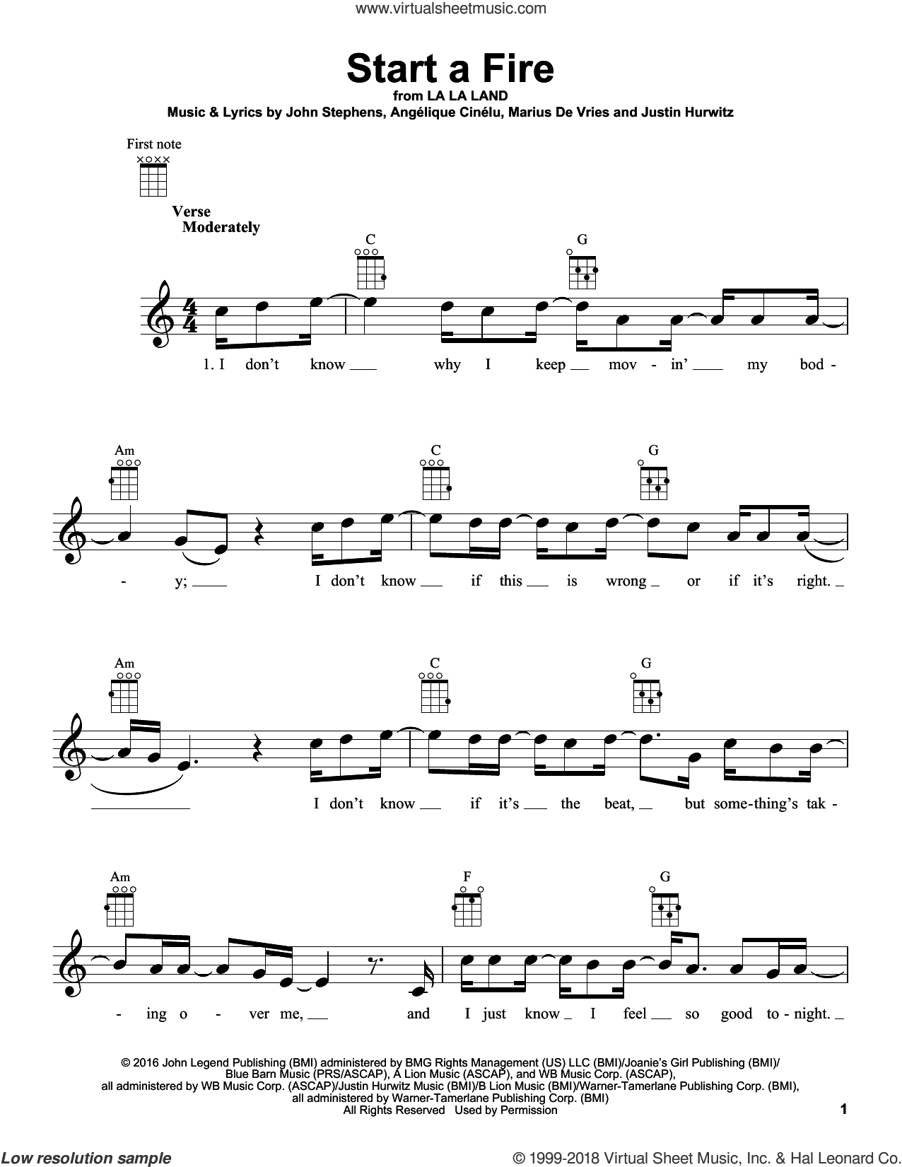 Start A Fire sheet music for ukulele by John Legend, Angelique Cinelu, John Stephens, Justin Hurwitz and Marius De Vries, intermediate skill level