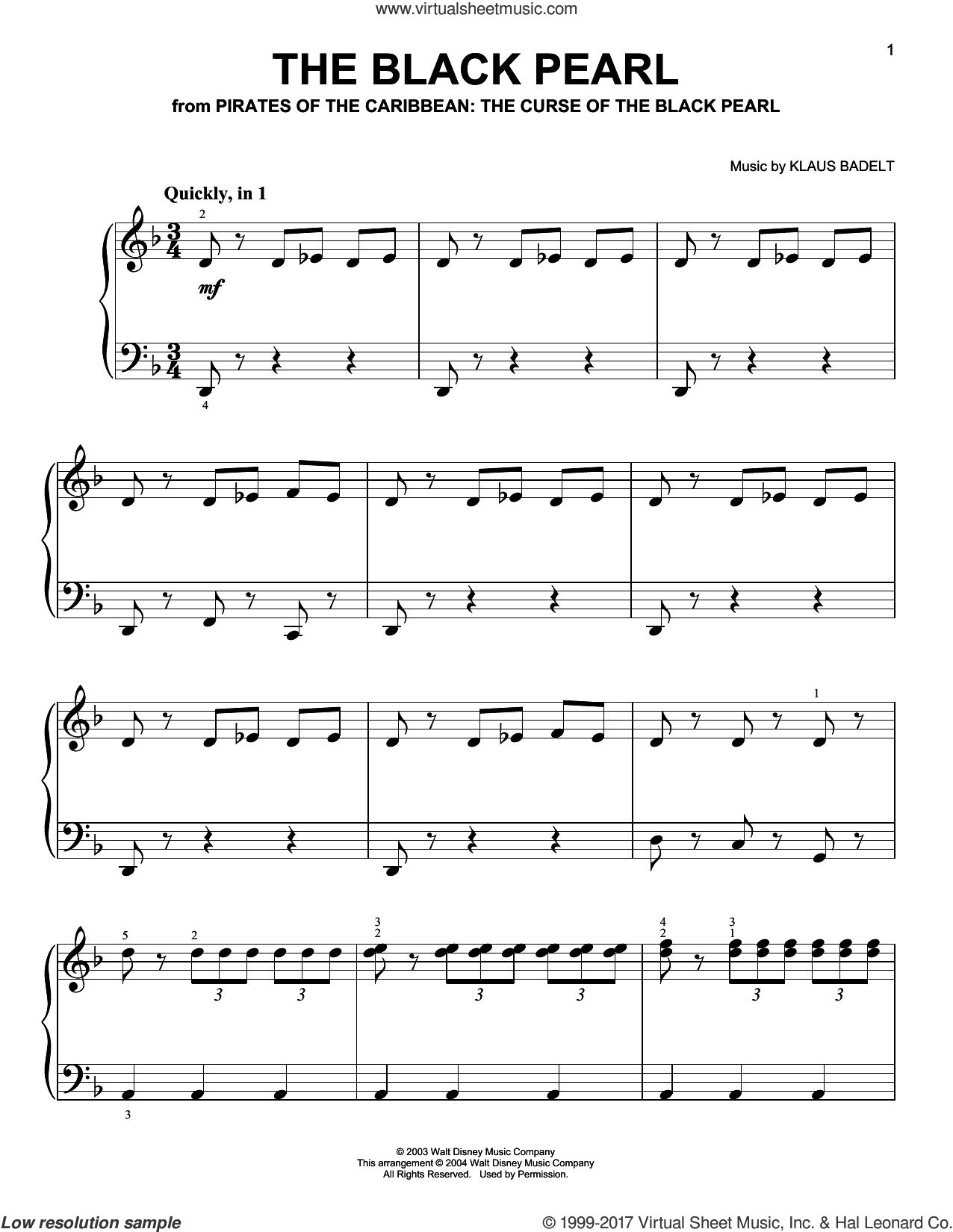 The Black Pearl sheet music for piano solo by Hans Zimmer and Klaus Badelt, classical score, easy skill level