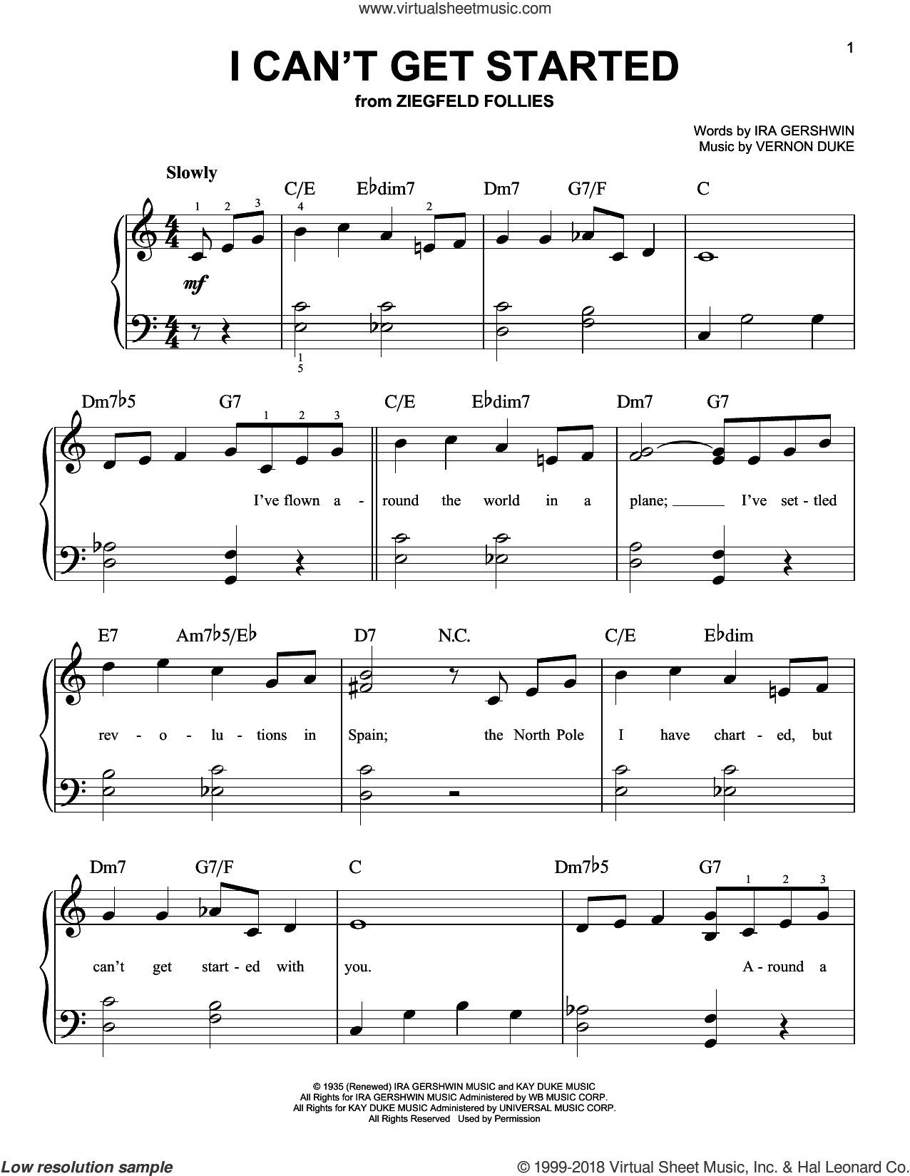 I Can't Get Started sheet music for piano solo by Ira Gershwin and Vernon Duke, beginner skill level