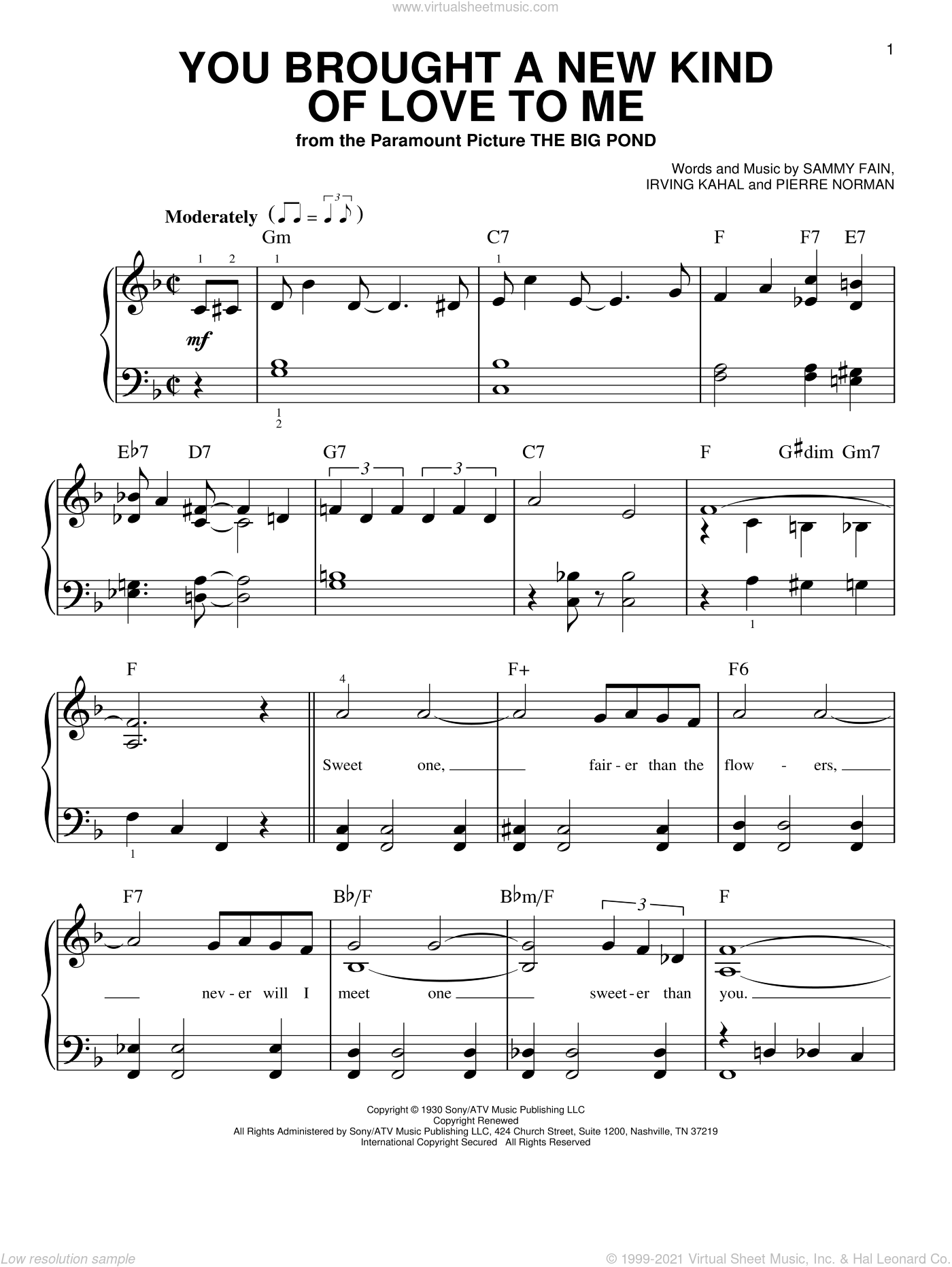 You Brought A New Kind Of Love To Me sheet music for piano solo by Sammy Fain, Scott Hamilton, Irving Kahal and Pierre Norman, beginner skill level