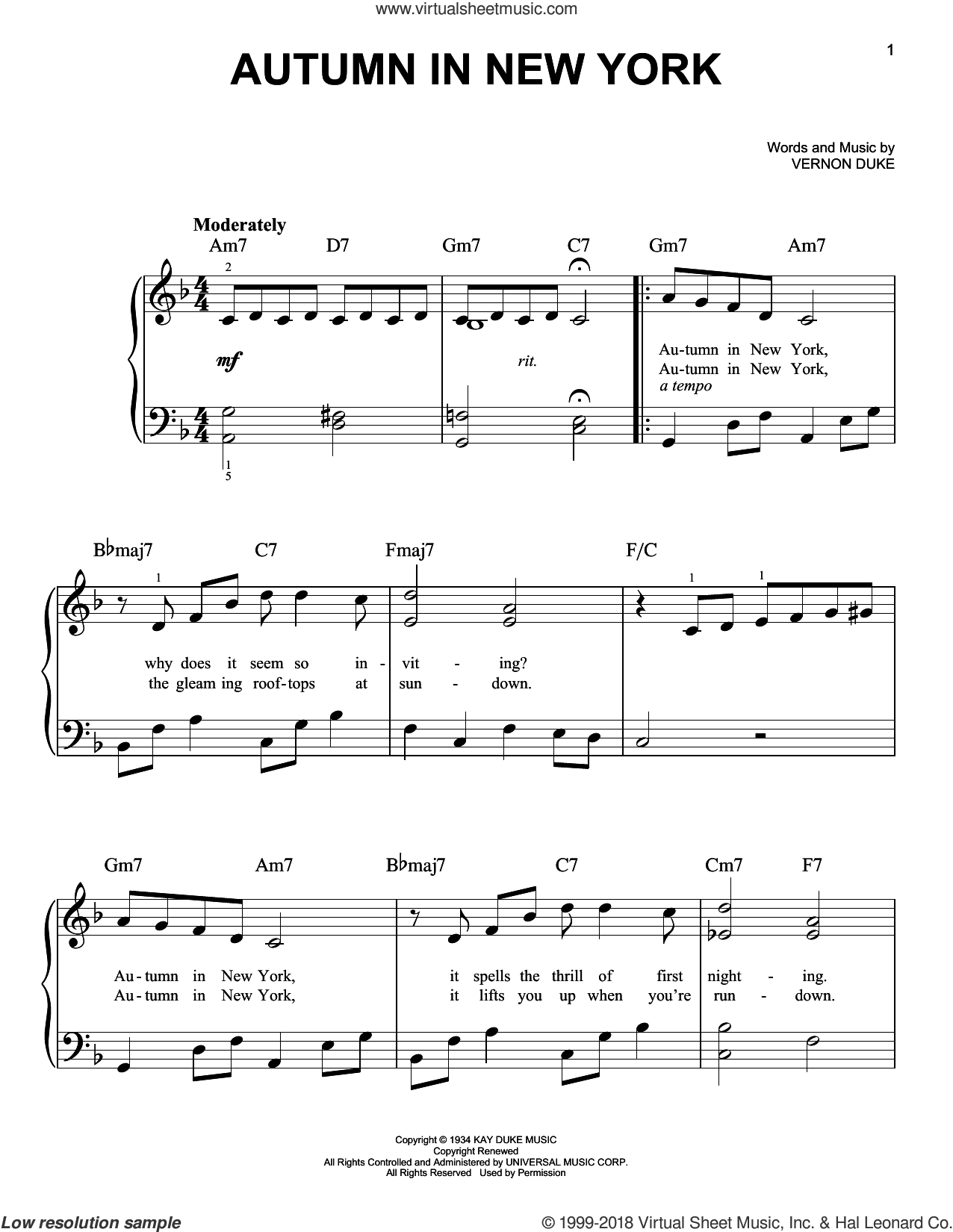 Autumn In New York sheet music for piano solo by Vernon Duke, Bud Powell and Jo Stafford, beginner skill level