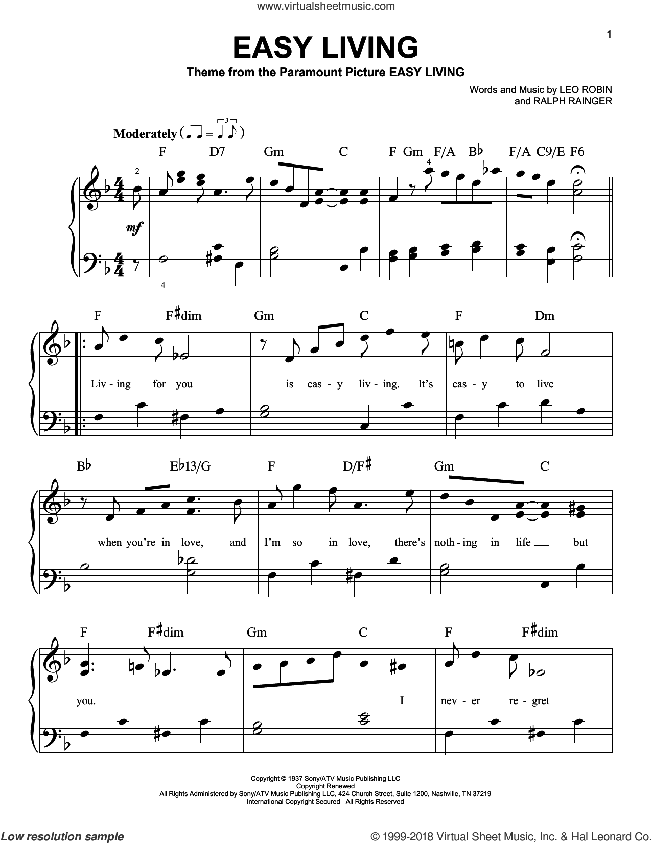 Easy Living, (beginner) sheet music for piano solo by Billie Holiday, Leo Robin and Ralph Rainger, beginner skill level