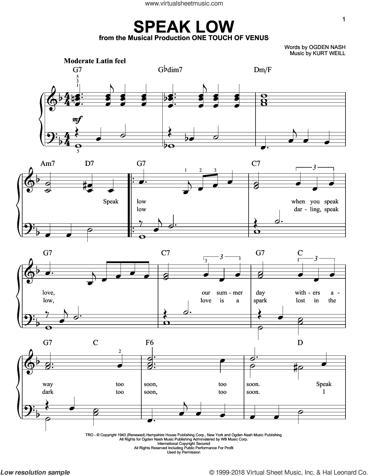 Speak Low sheet music for piano solo by Kurt Weill and Ogden Nash, beginner skill level