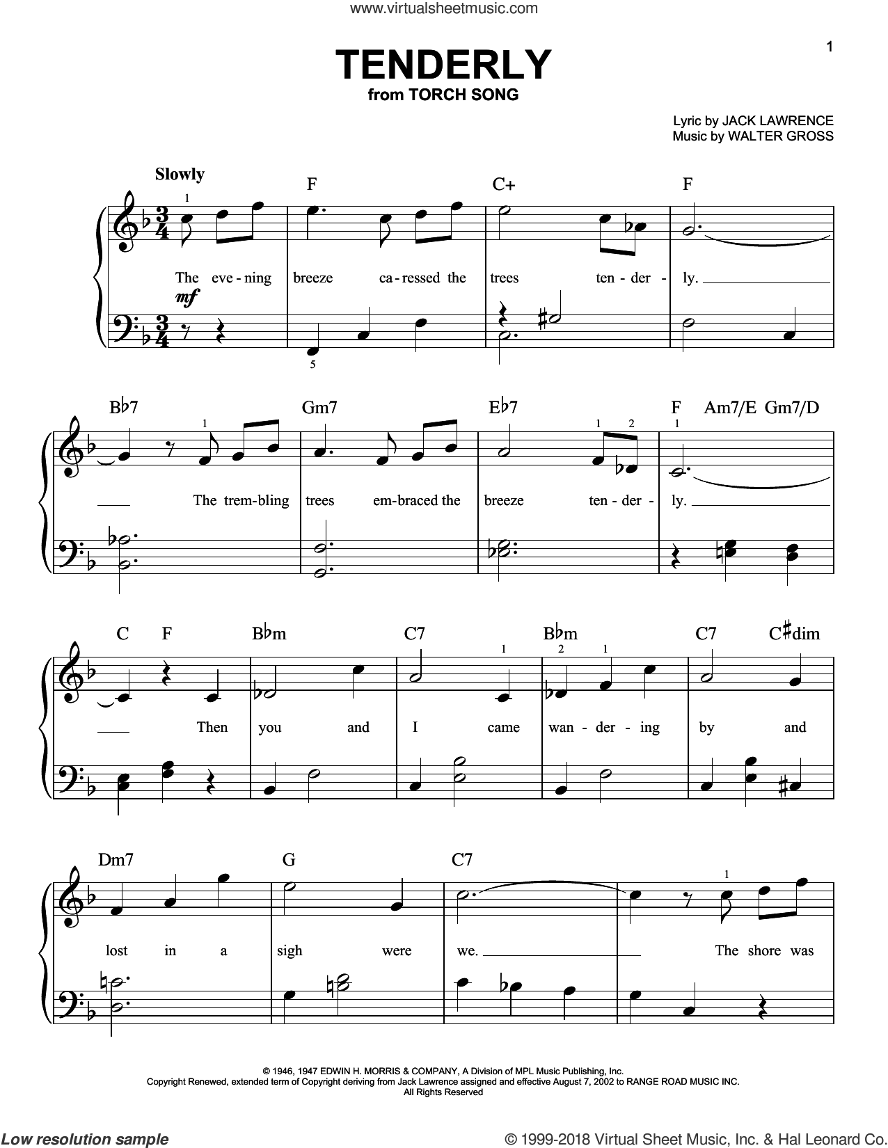 Tenderly, (beginner) sheet music for piano solo by Jack Lawrence and Walter Gross, beginner skill level