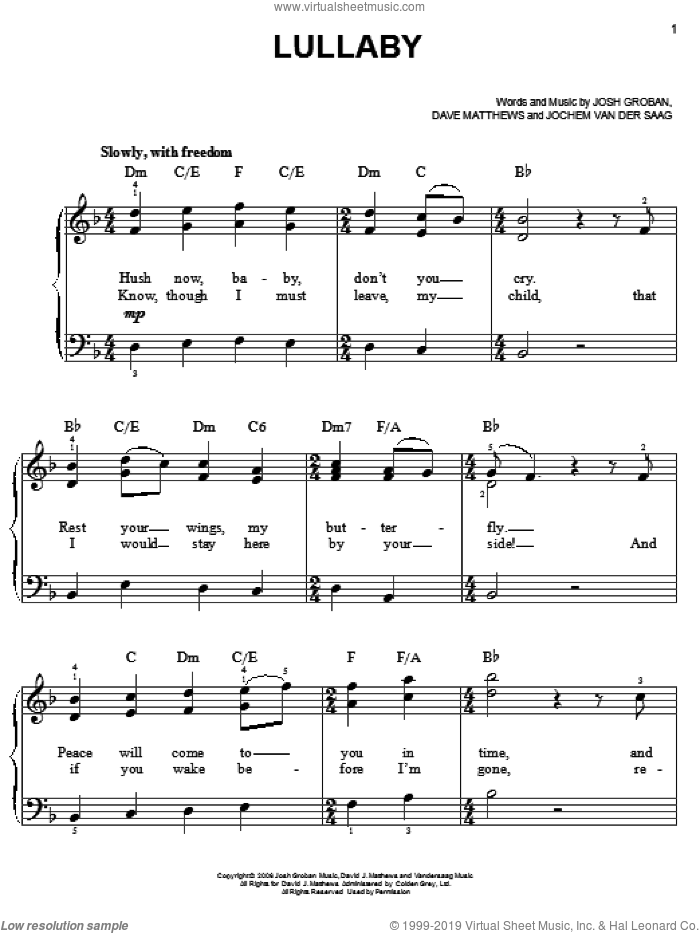 Lullaby sheet music for piano solo by Josh Groban, Dave Matthews and Jochem Van Der Saag, easy skill level