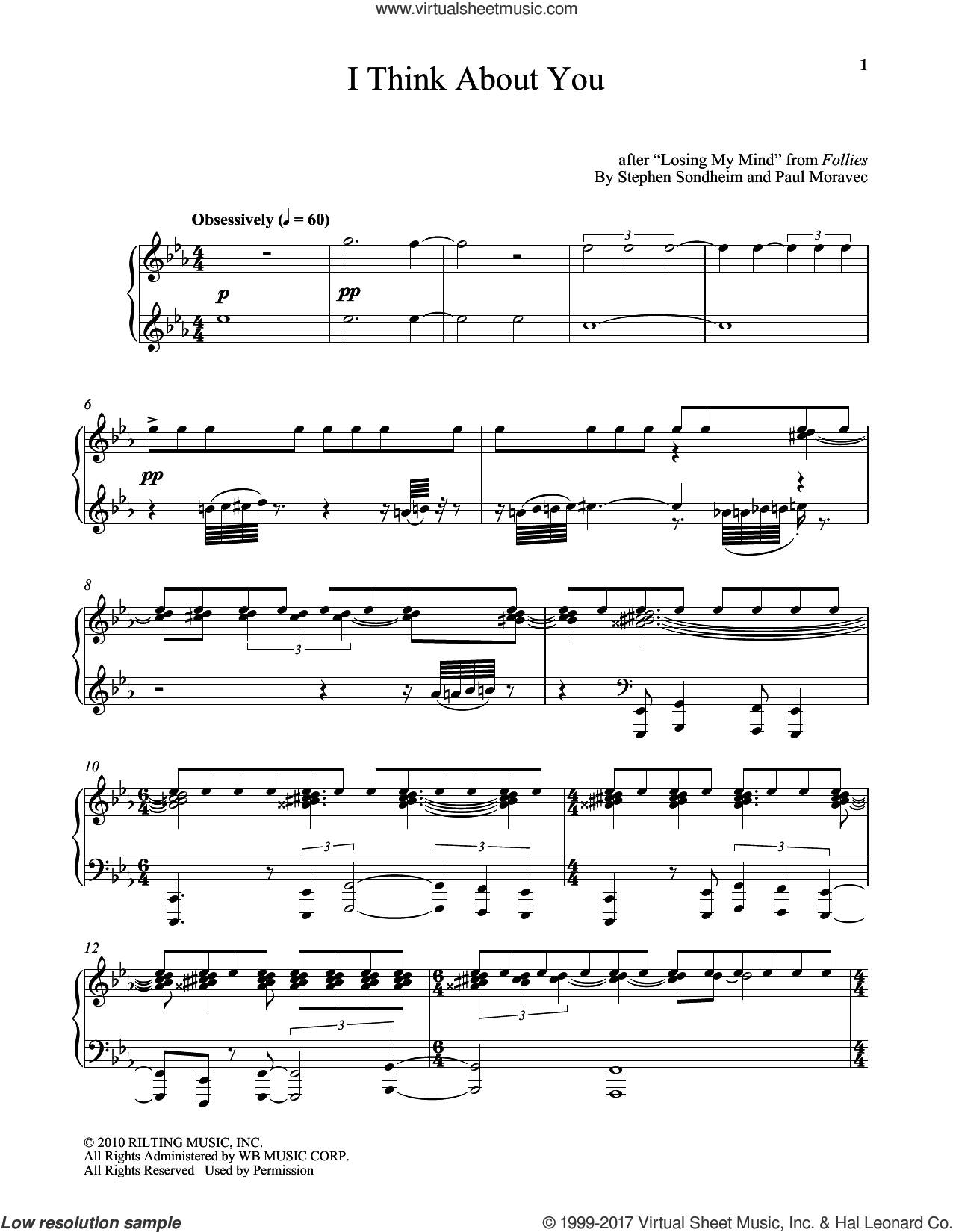 I Think About You sheet music for piano solo by Stephen Sondheim and Paul Moravec, intermediate skill level