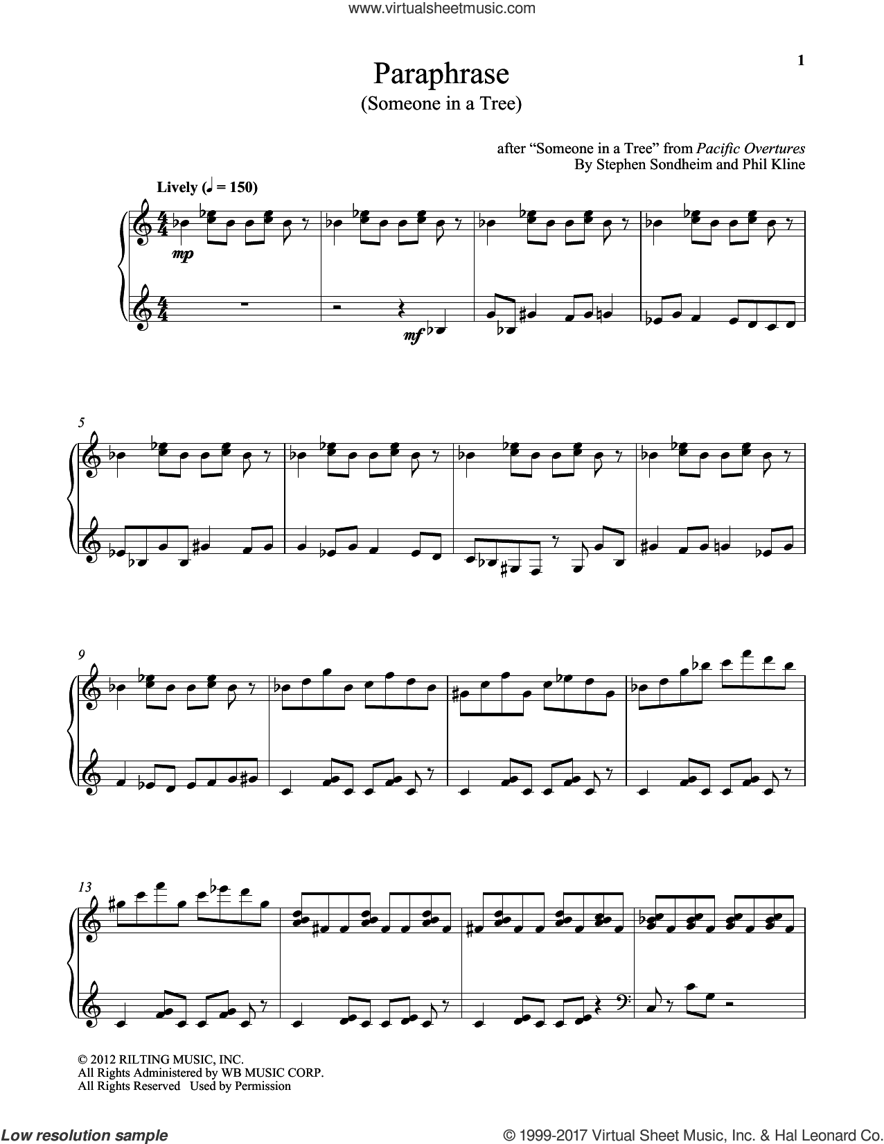 Paraphrase (Someone In A Tree) sheet music for piano solo by Stephen Sondheim and Phil Kline, intermediate