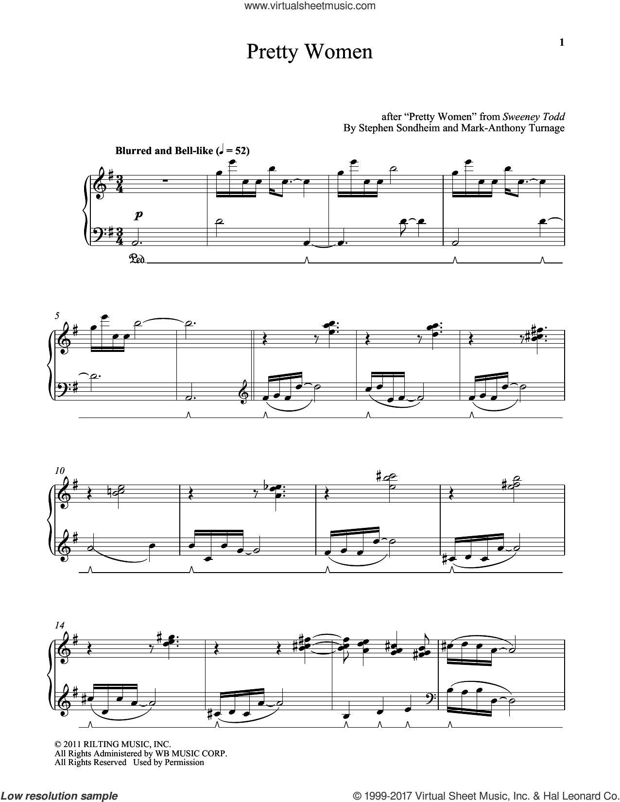 Pretty Women sheet music for piano solo by Stephen Sondheim and Mark-Anthony Turnage, intermediate skill level
