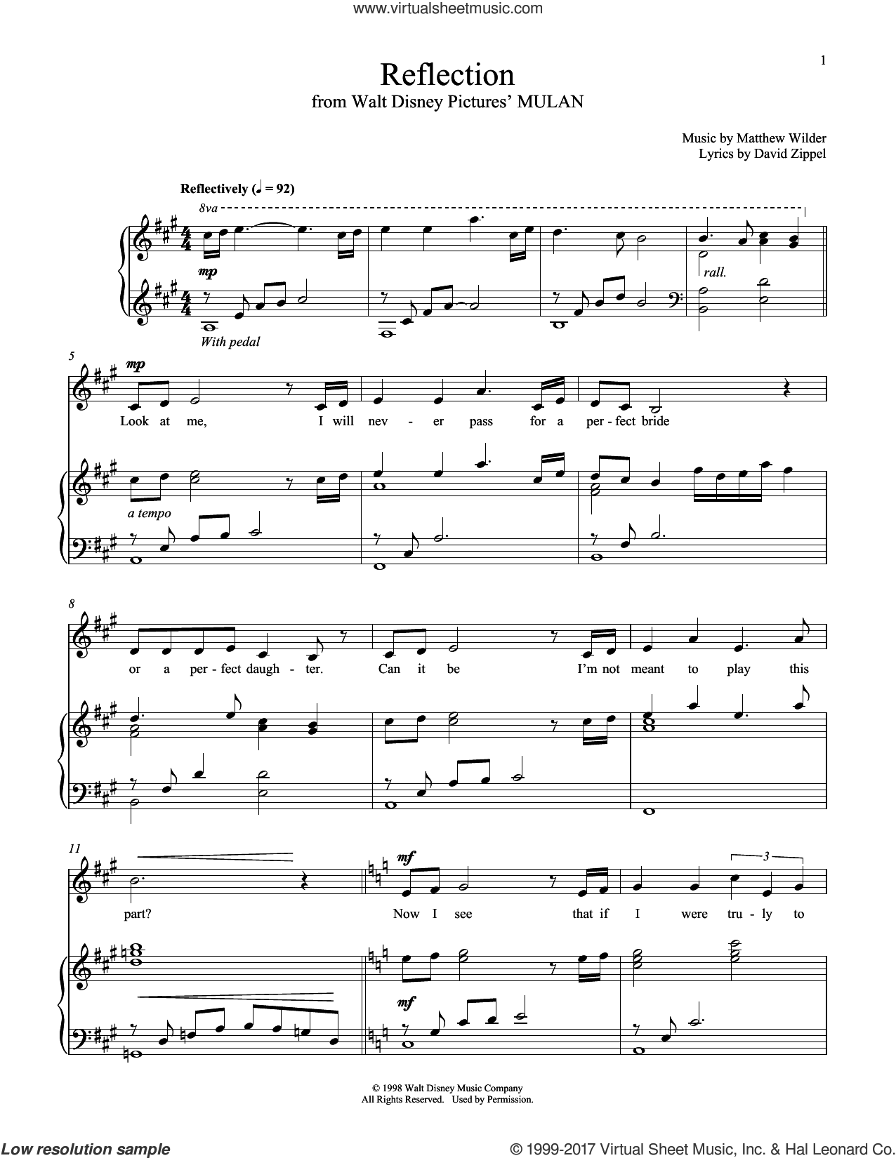 Reflection (from Mulan) sheet music for voice and piano by Christina Aguilera, David Zippel and Matthew Wilder, intermediate skill level