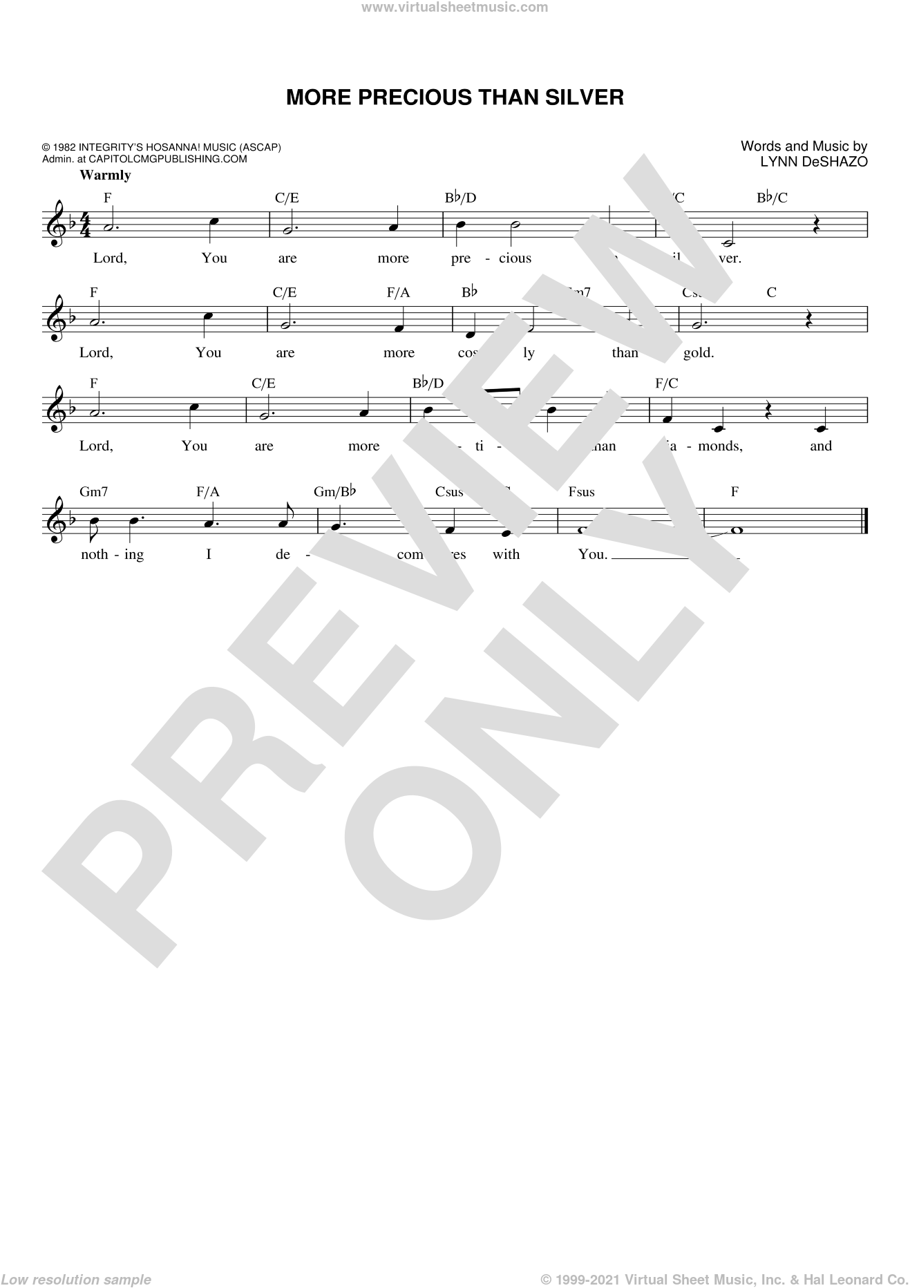 More Precious Than Silver sheet music for voice and other instruments (fake book) by Lynn DeShazo. Score Image Preview.