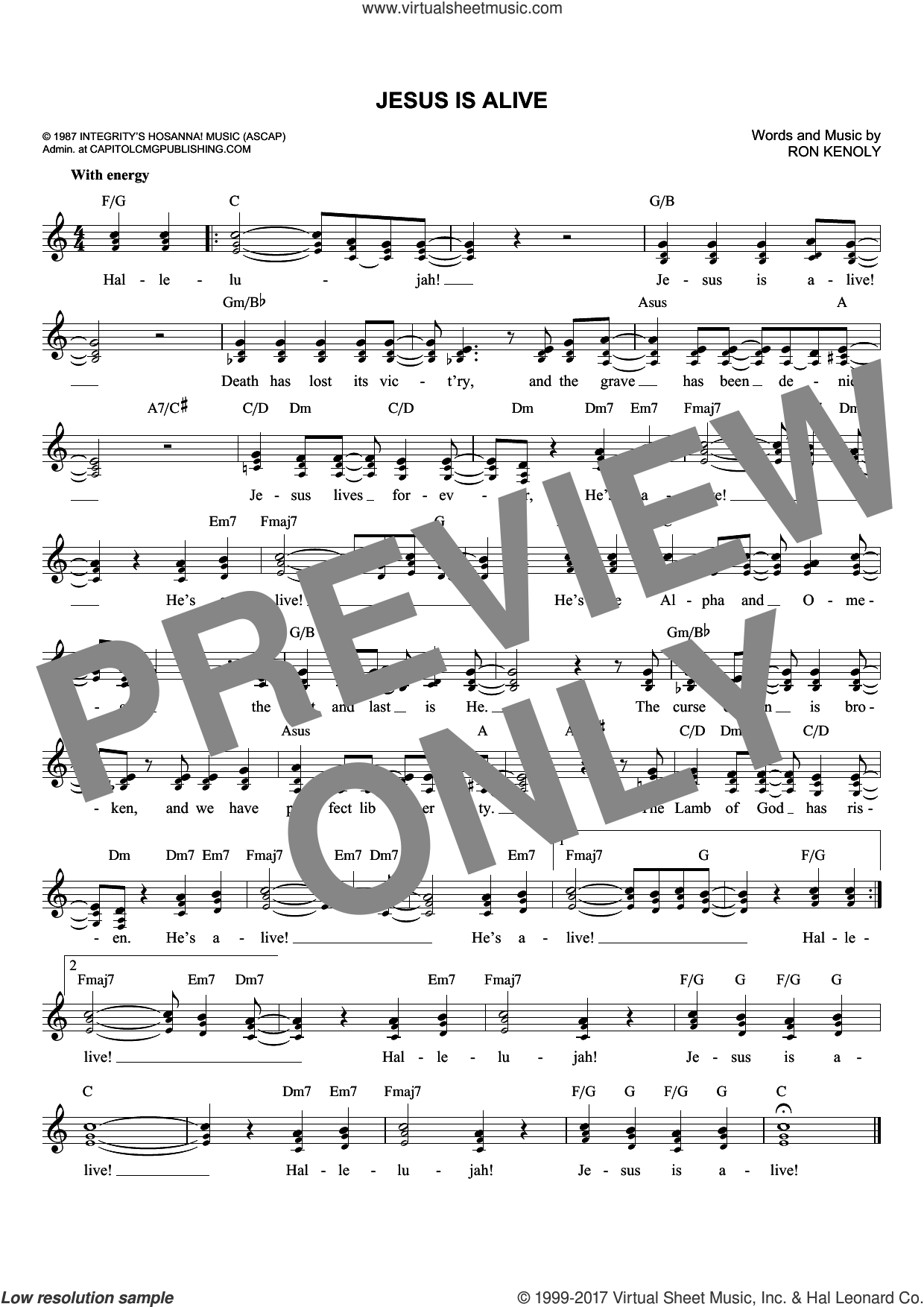 Jesus Is Alive sheet music for voice and other instruments (fake book) by Ron Kenoly, intermediate skill level
