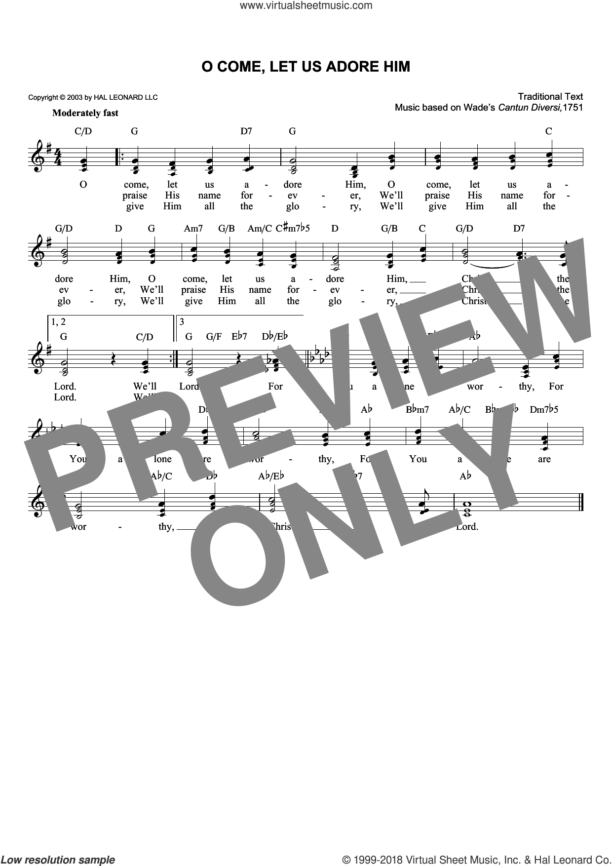 O Come, Let Us Adore Him sheet music for voice and other instruments (fake book). Score Image Preview.