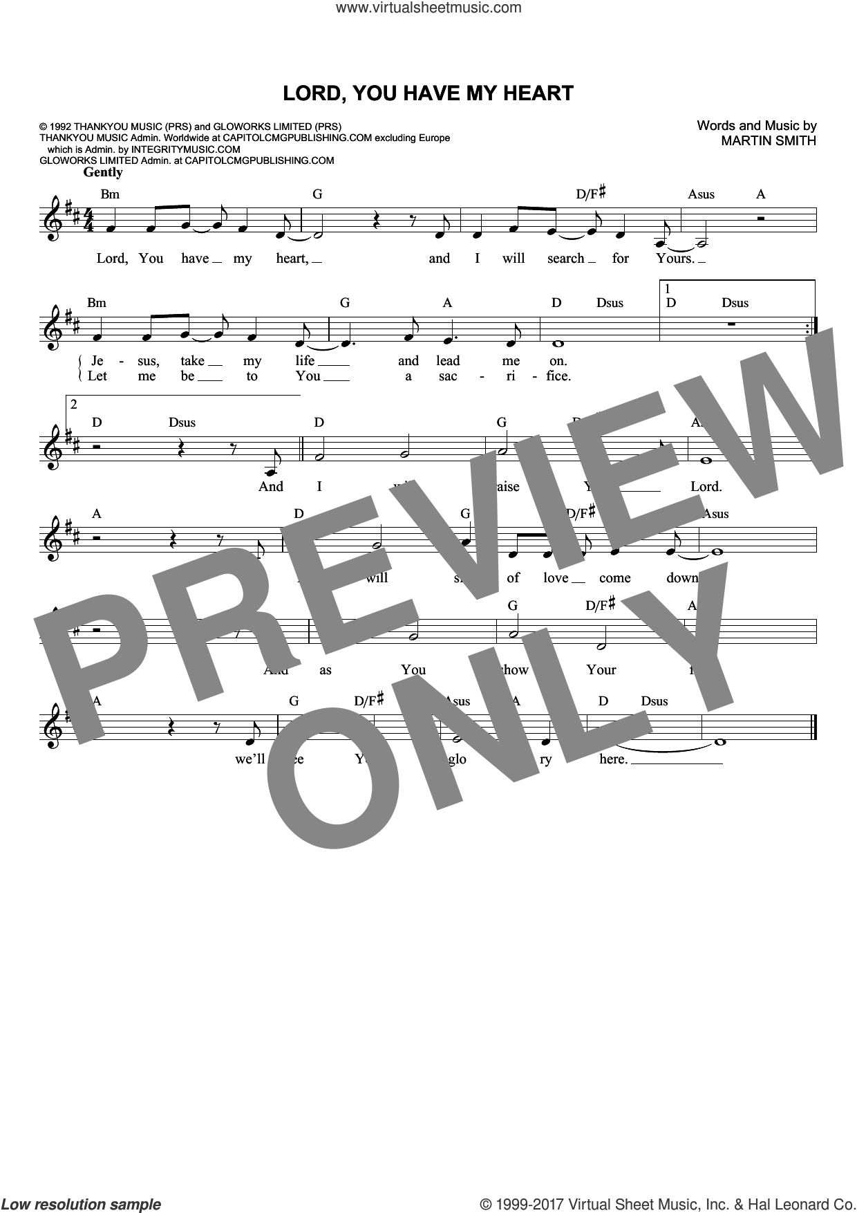 Lord, You Have My Heart sheet music for voice and other instruments (fake book) by Martin Smith. Score Image Preview.