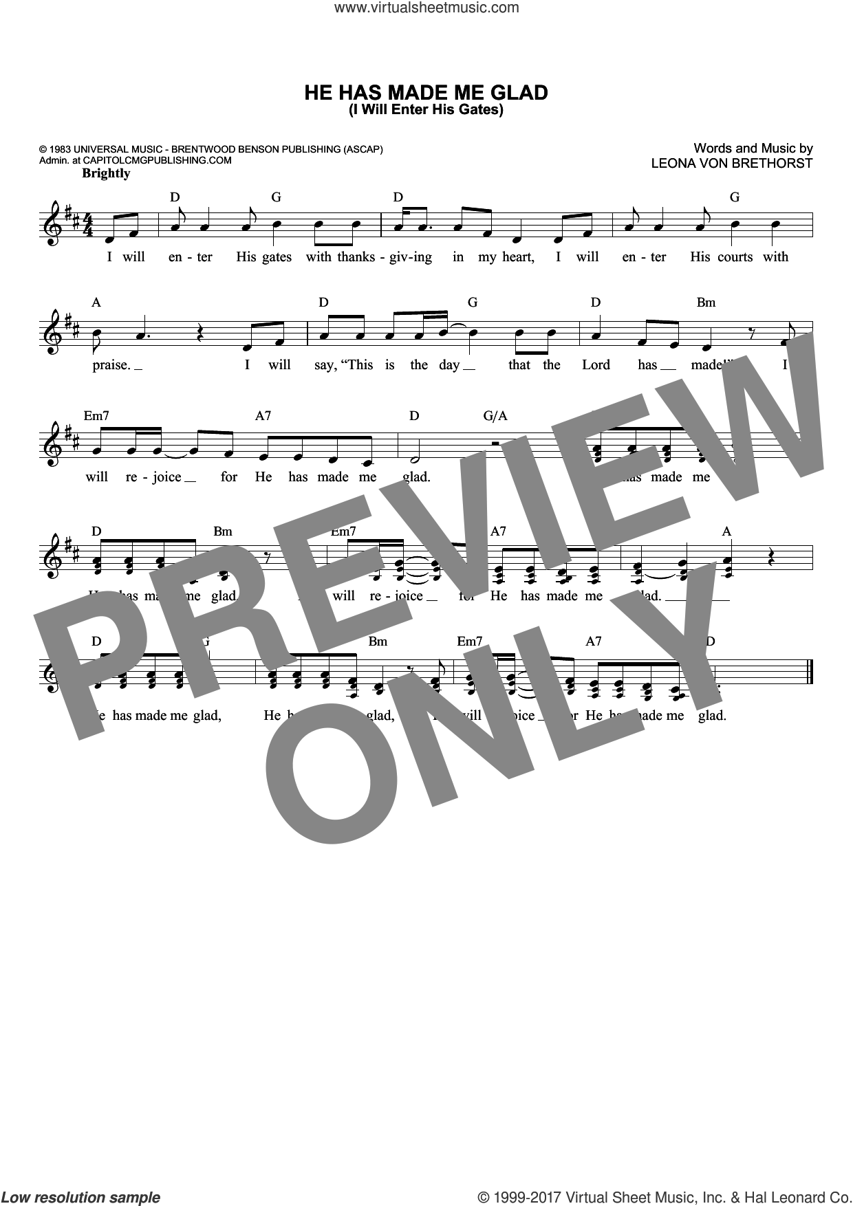 He Has Made Me Glad (I Will Enter His Gates) sheet music for voice and other instruments (fake book) by Leona Von Brethorst, intermediate voice. Score Image Preview.