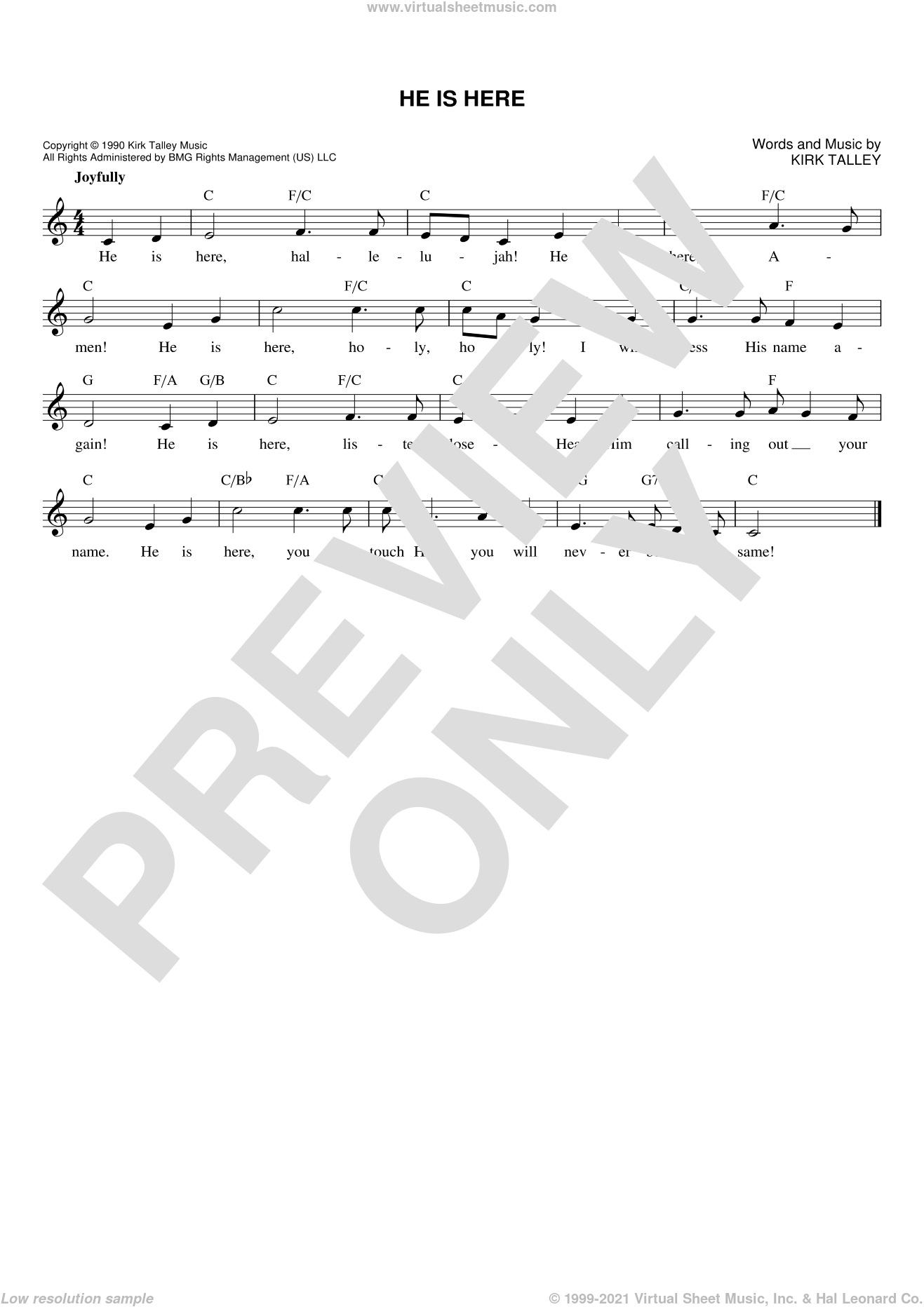 He Is Here sheet music for voice and other instruments (fake book) by Kirk Talley, intermediate skill level