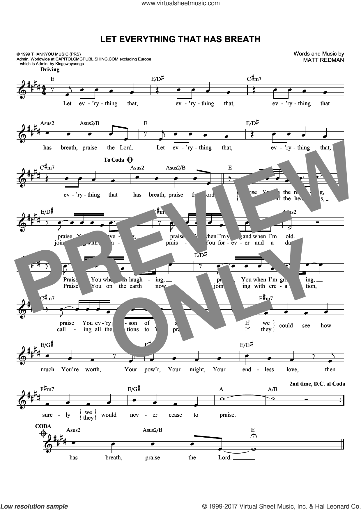 Let Everything That Has Breath sheet music for voice and other instruments (fake book) by Matt Redman and Passion. Score Image Preview.