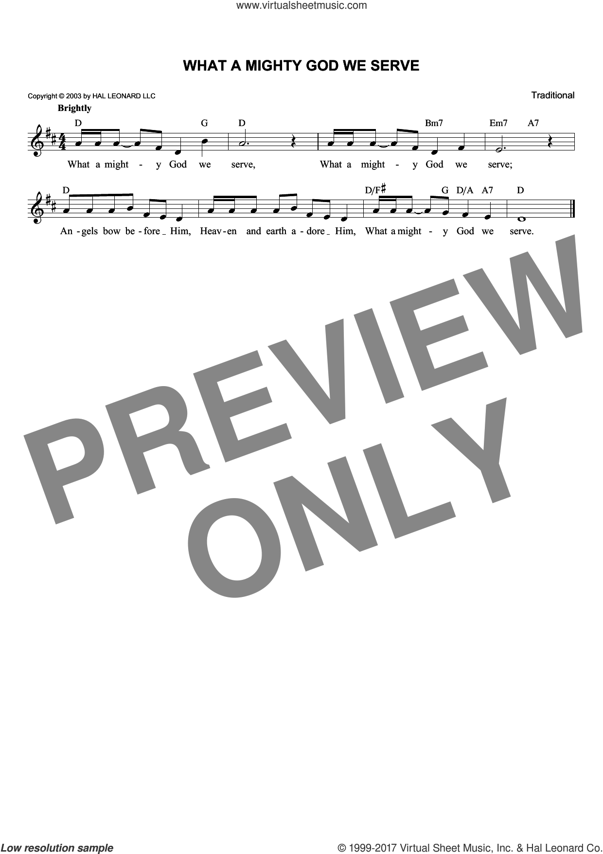 What A Mighty God We Serve sheet music for voice and other instruments (fake book), intermediate skill level
