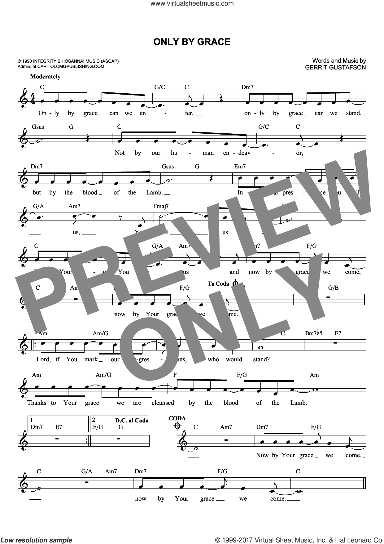 Only By Grace sheet music for voice and other instruments (fake book) by Gerrit Gustafson and Petra, intermediate skill level
