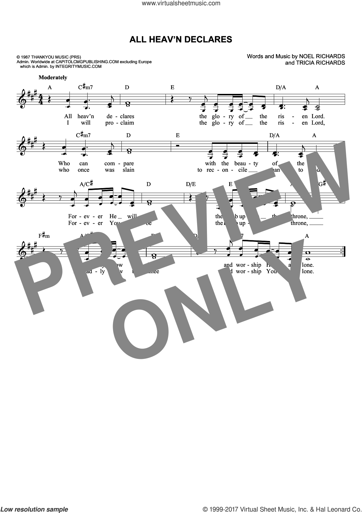 All Heav'n Declares sheet music for voice and other instruments (fake book) by Noel Richards and Tricia Richards, intermediate skill level