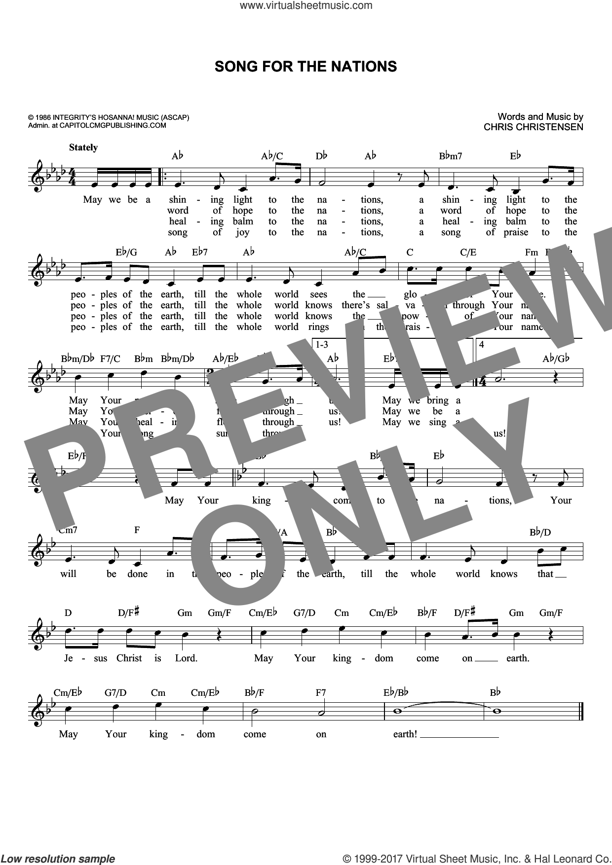 Song For The Nations sheet music for voice and other instruments (fake book) by Chris Christensen, intermediate skill level