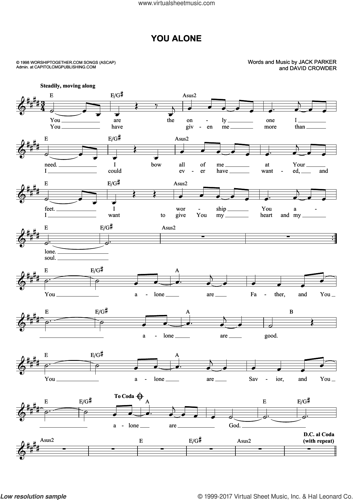 You Alone sheet music for voice and other instruments (fake book) by David Crowder, David Crowder Band, Passion and Jack Parker, intermediate skill level