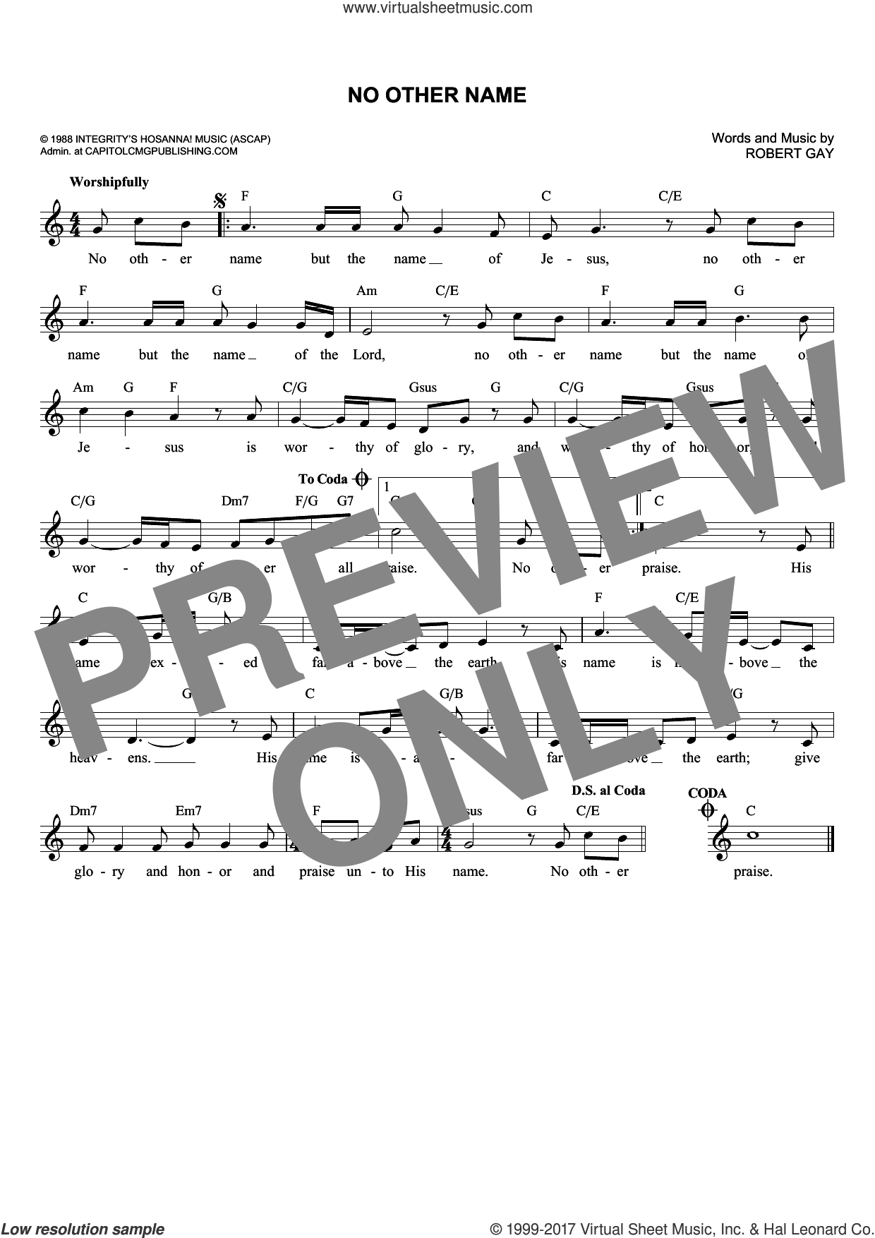 No Other Name sheet music for voice and other instruments (fake book) by Robert Gay, intermediate skill level