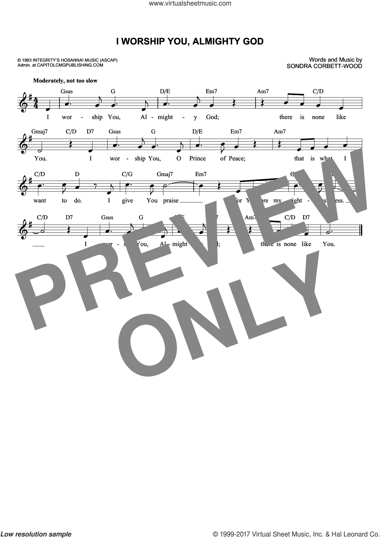 I Worship You, Almighty God sheet music for voice and other instruments (fake book) by Sondra Corbett-Wood, intermediate skill level