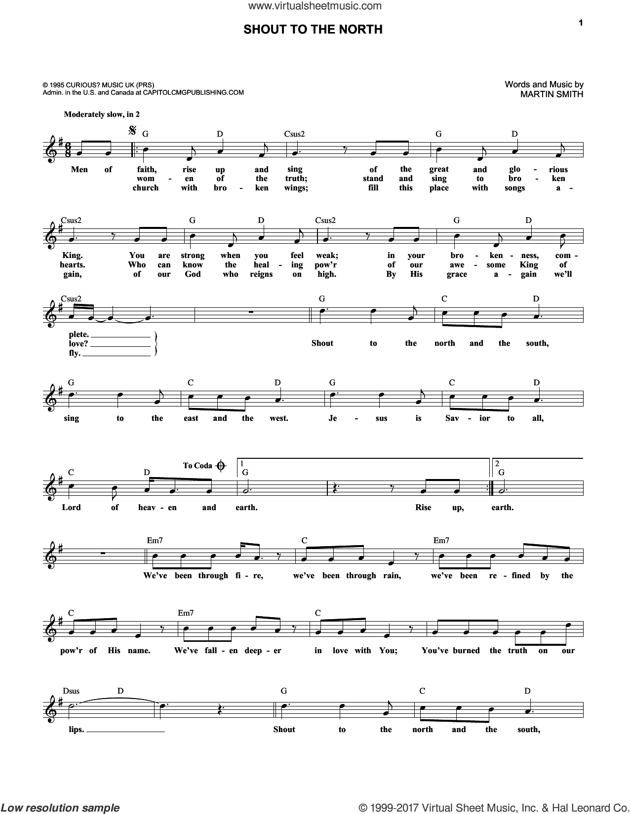 Shout To The North sheet music for voice and other instruments (fake book) by Martin Smith and Delirious?, intermediate skill level